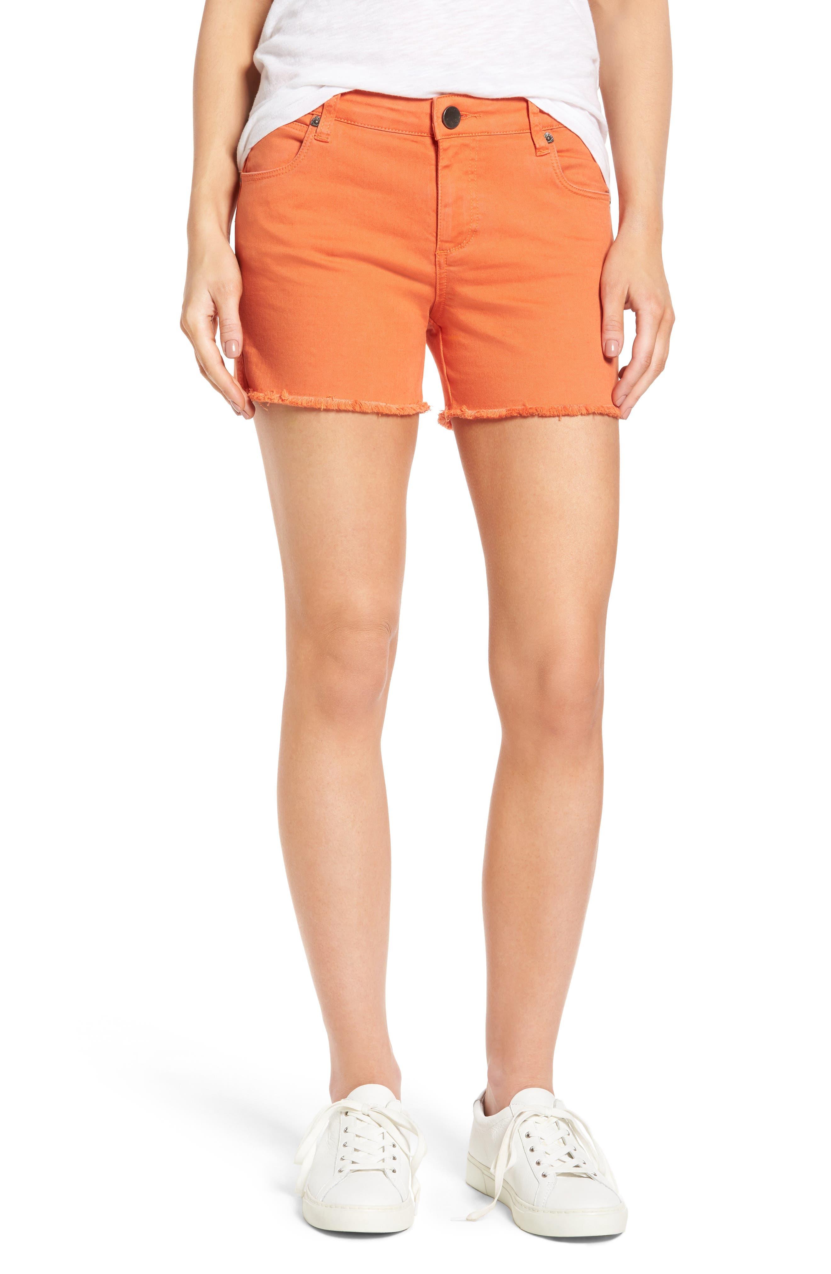 Gidget Fray Hem Orange Denim Shorts,                         Main,                         color, Orange