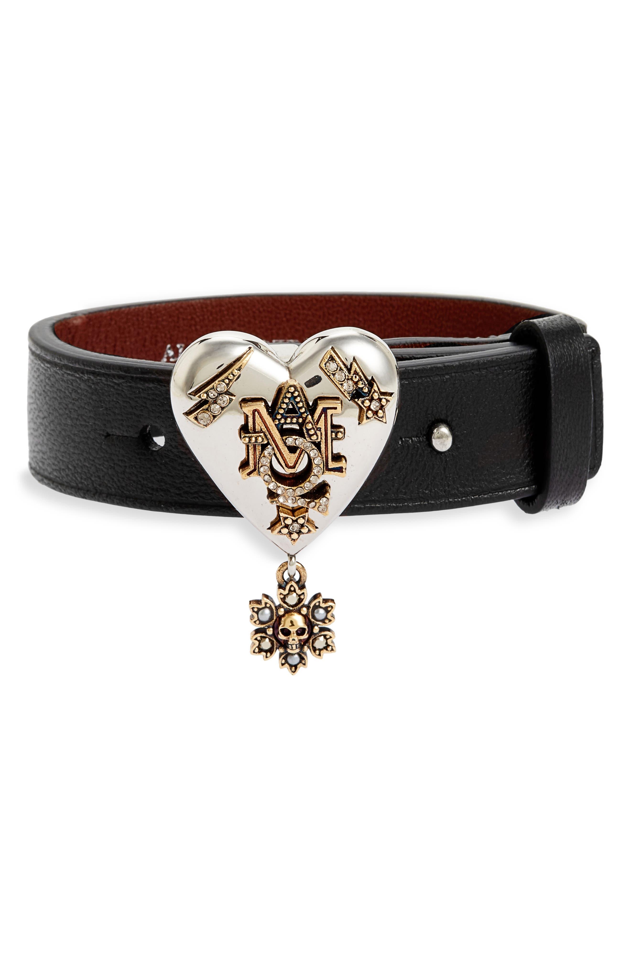 Metallic Heart Leather Bracelet,                         Main,                         color, Black