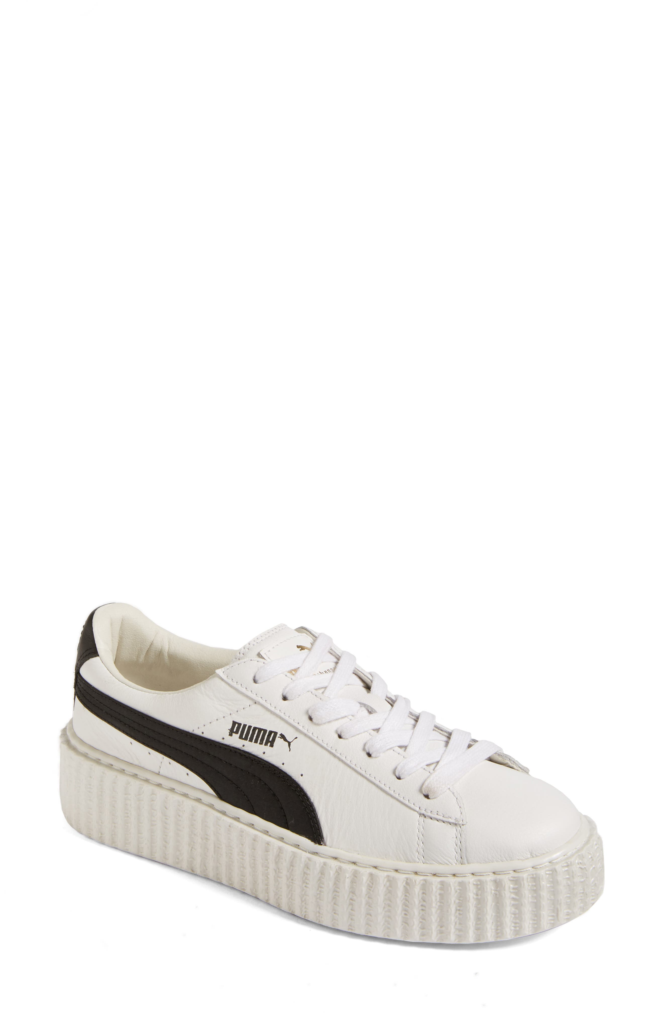 FENTY PUMA by Rihanna Creeper Sneaker,                             Main thumbnail 1, color,                             White Leather
