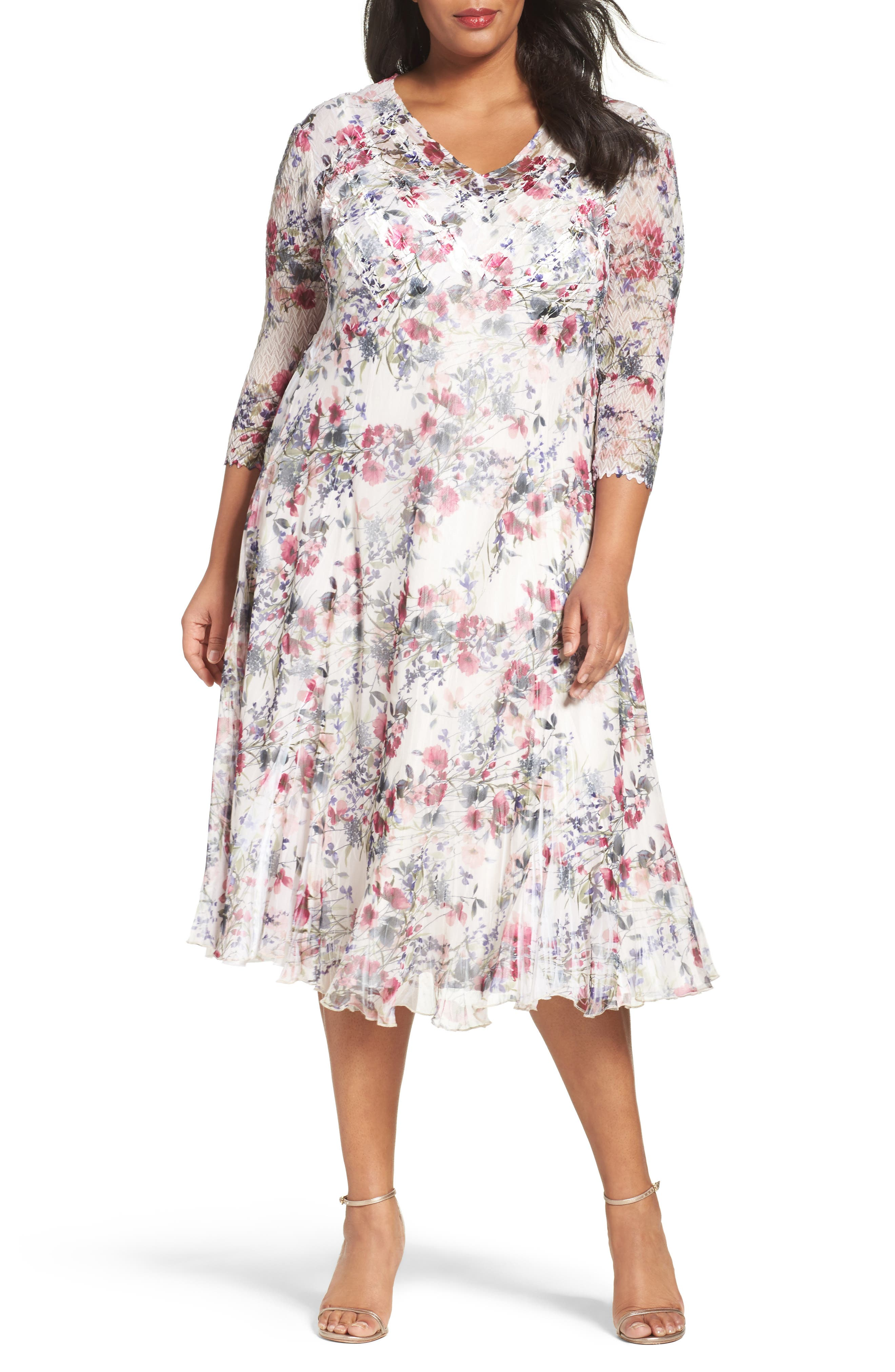 Print Chiffon Midi Dress,                             Main thumbnail 1, color,                             Wildflower Fields