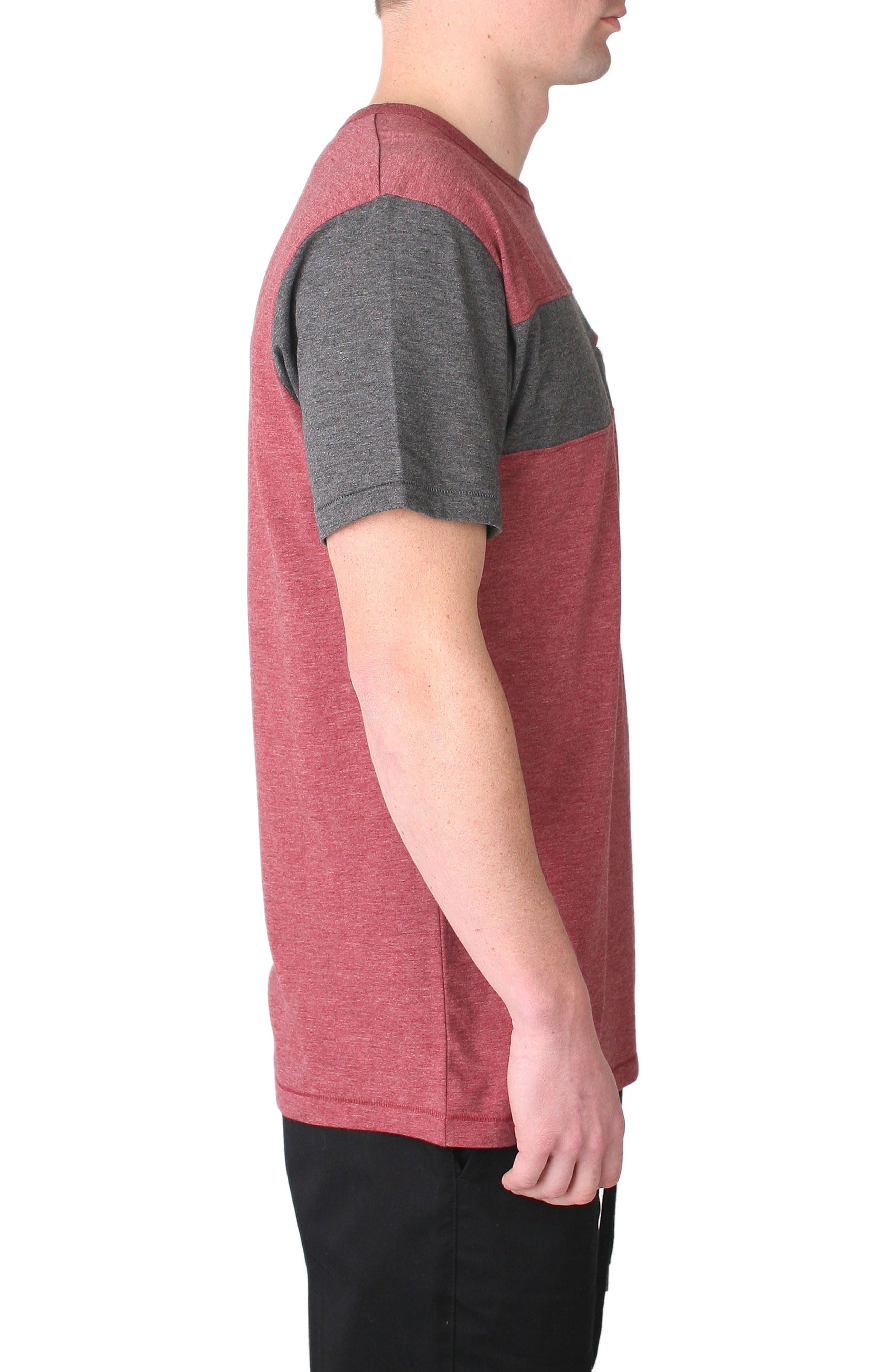 Nelson Pocket T-Shirt,                             Alternate thumbnail 3, color,                             Oxblood/ Charcoal
