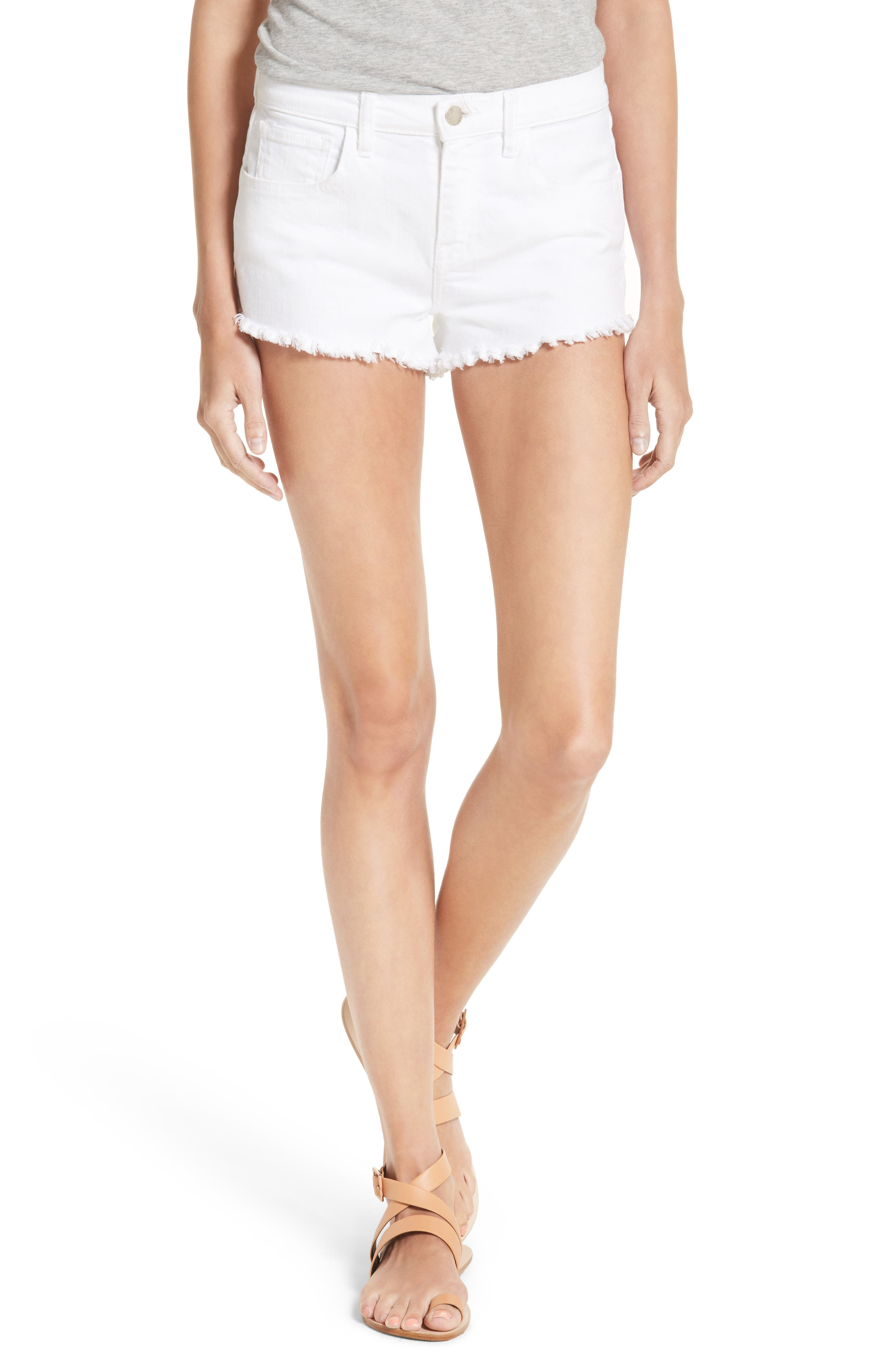 Zoe Cutoff Denim Shorts,                         Main,                         color, Blanc