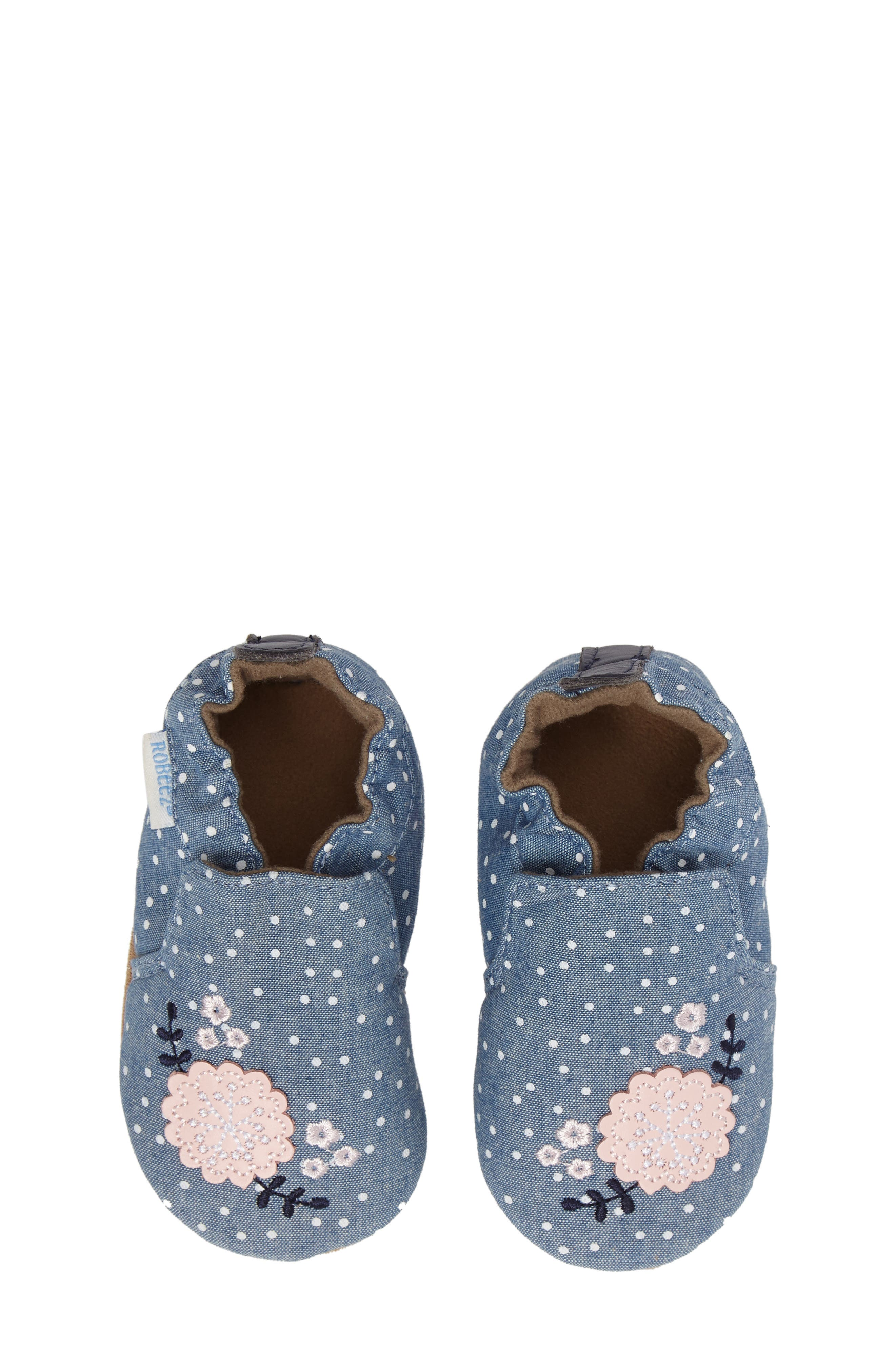 Alternate Image 5  - Robeez® Chambray Bouquet Slip-On Crib Shoe (Baby & Walker)