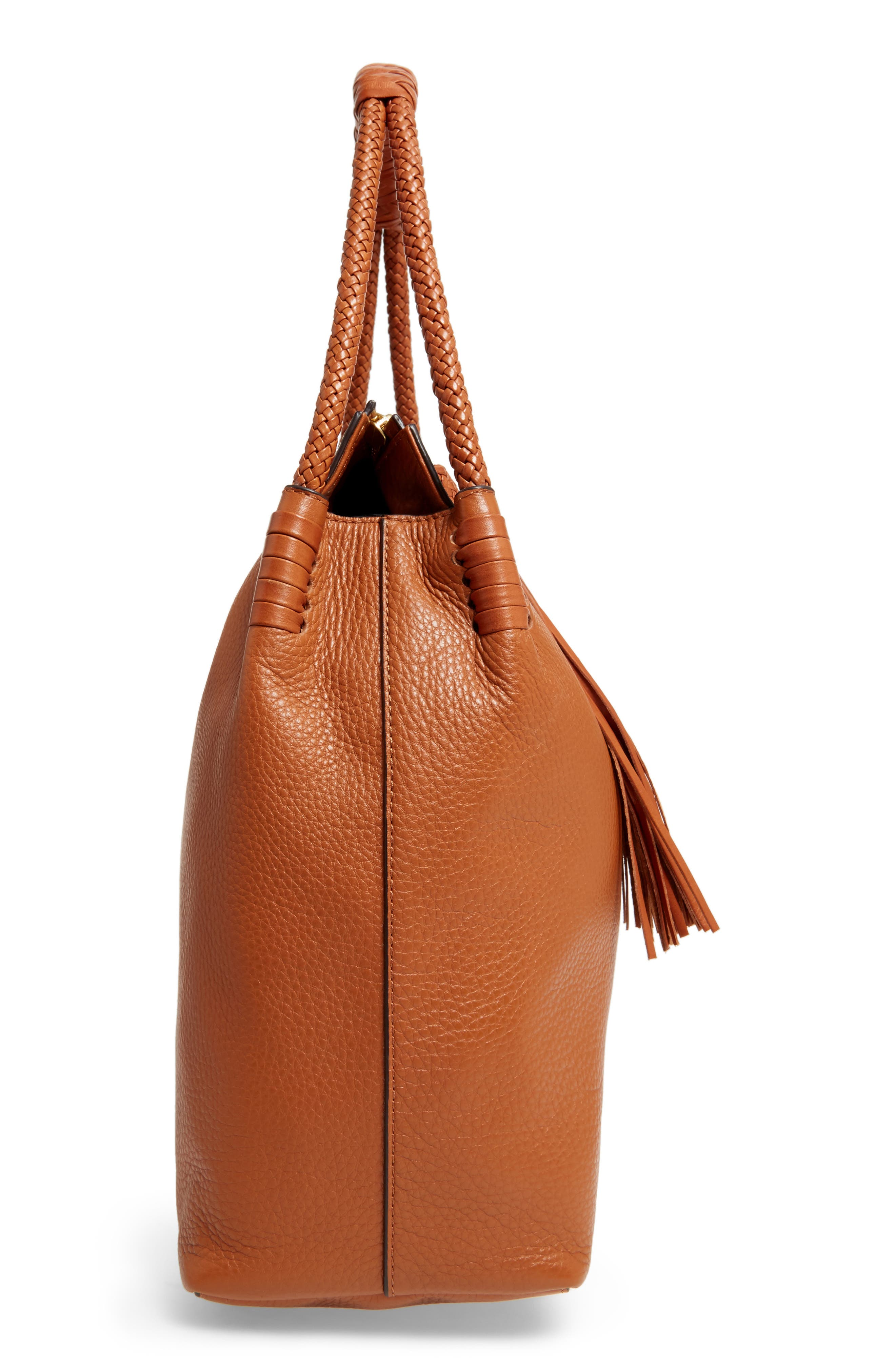 Taylor Leather Hobo Bag,                             Alternate thumbnail 5, color,                             Saddle
