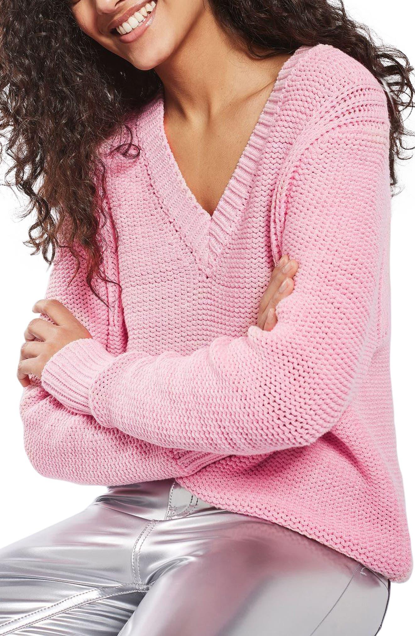 Main Image - Topshop Oversize V-Neck Sweater