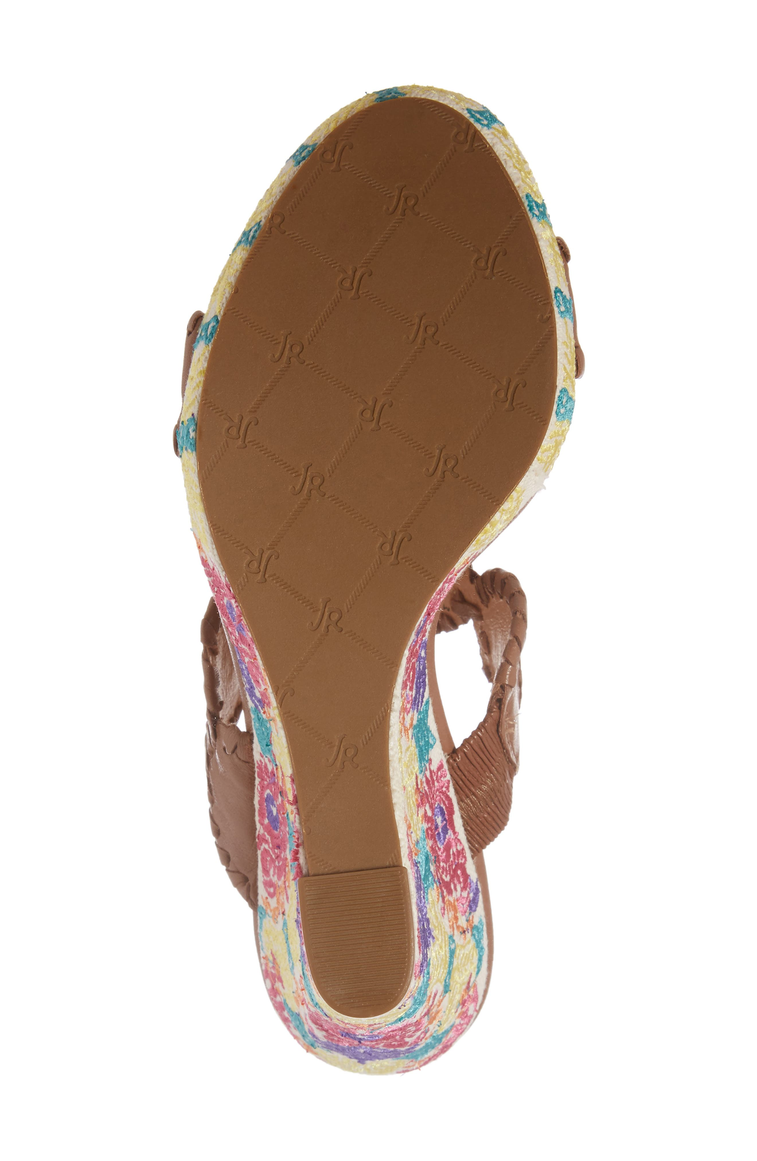 Livvy Wedge Slide Sandal,                             Alternate thumbnail 6, color,                             Cognac Leather