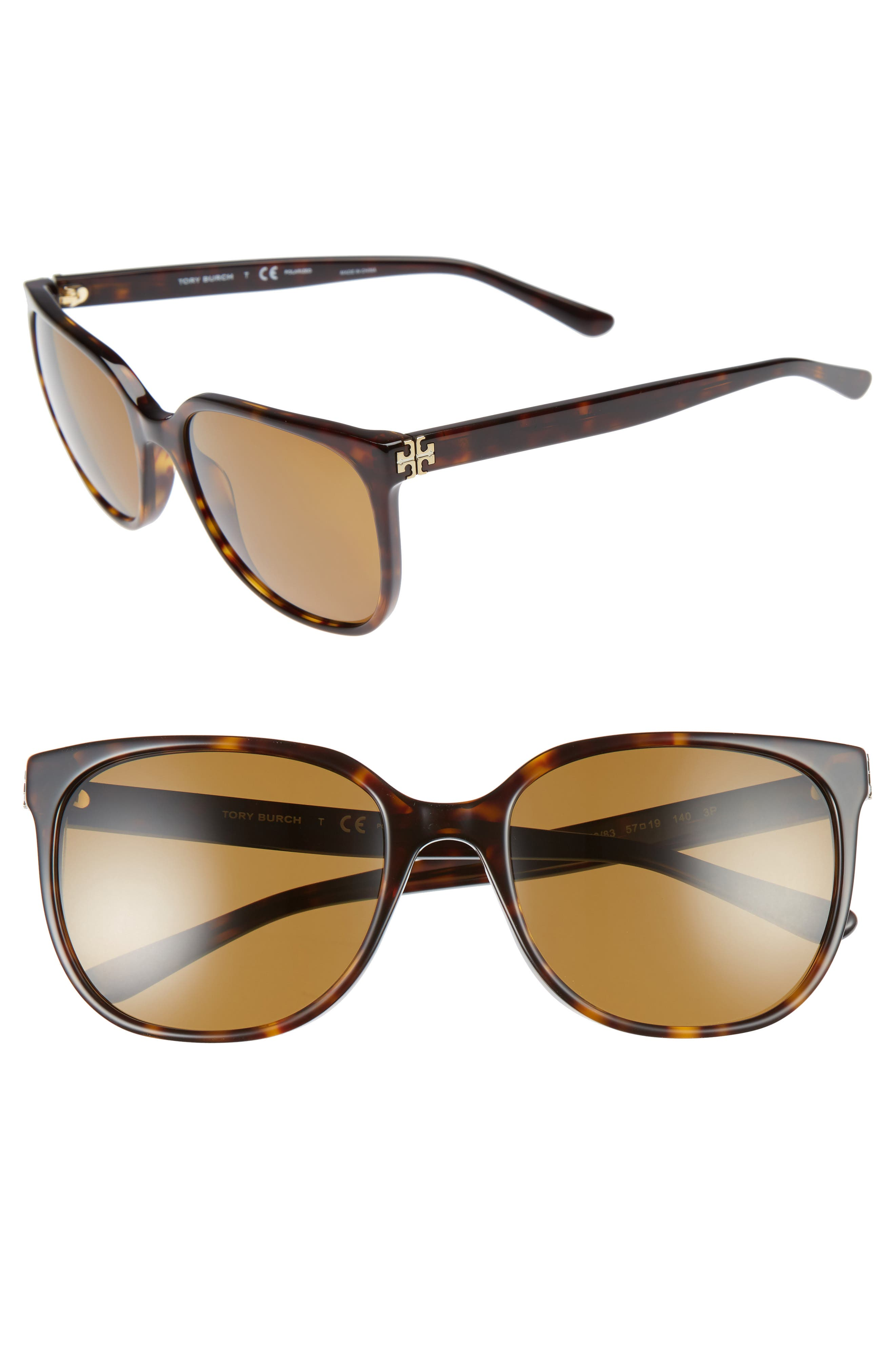 57mm Polarized Sunglasses,                         Main,                         color, Dark Tortoise