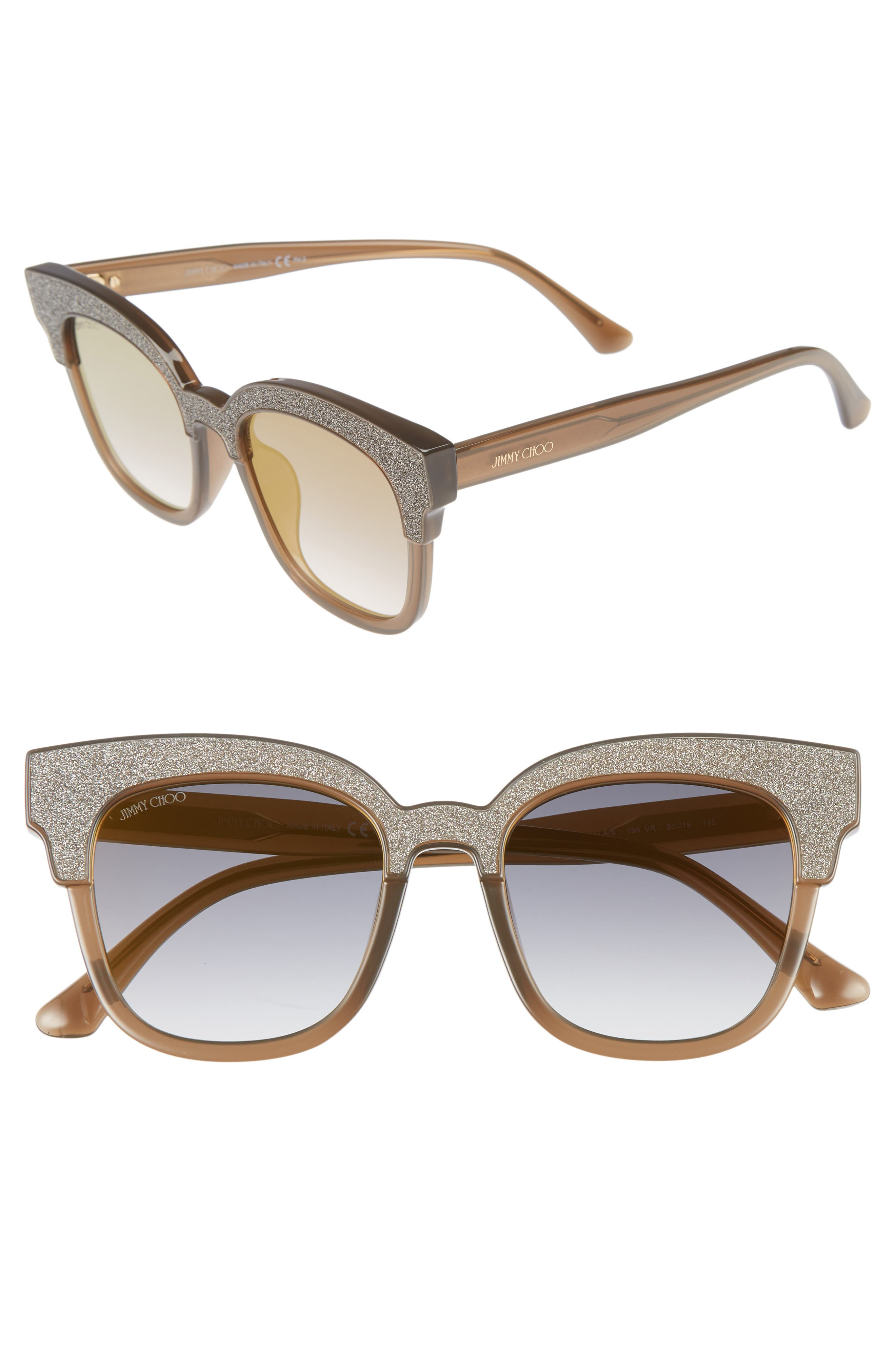 Mayelas 50mm Cat Eye Sunglasses,                             Main thumbnail 1, color,                             Brown/ Glitter