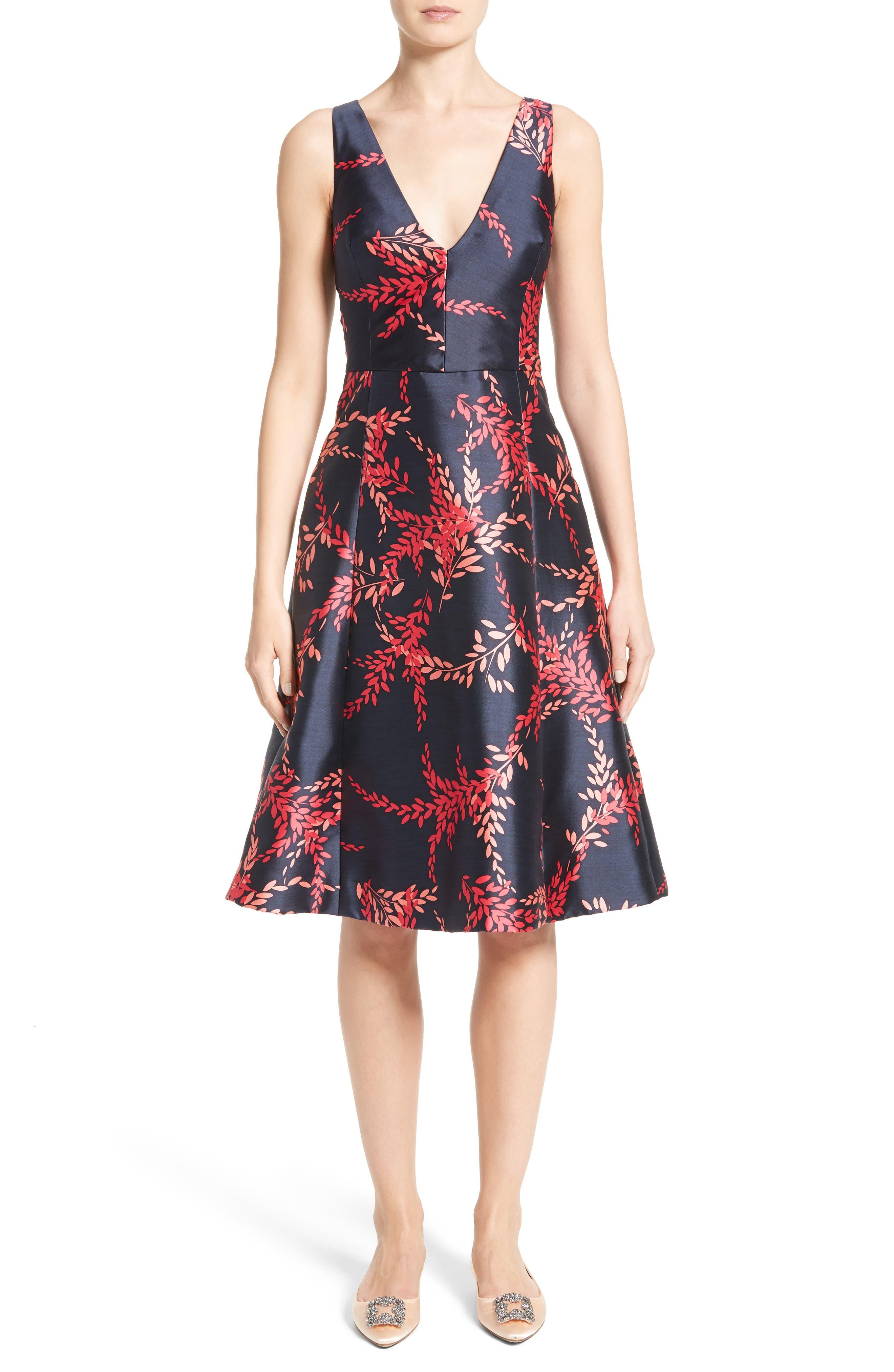 Leaf Print Silk & Cotton Dress,                         Main,                         color, Navy/ Tourmaline