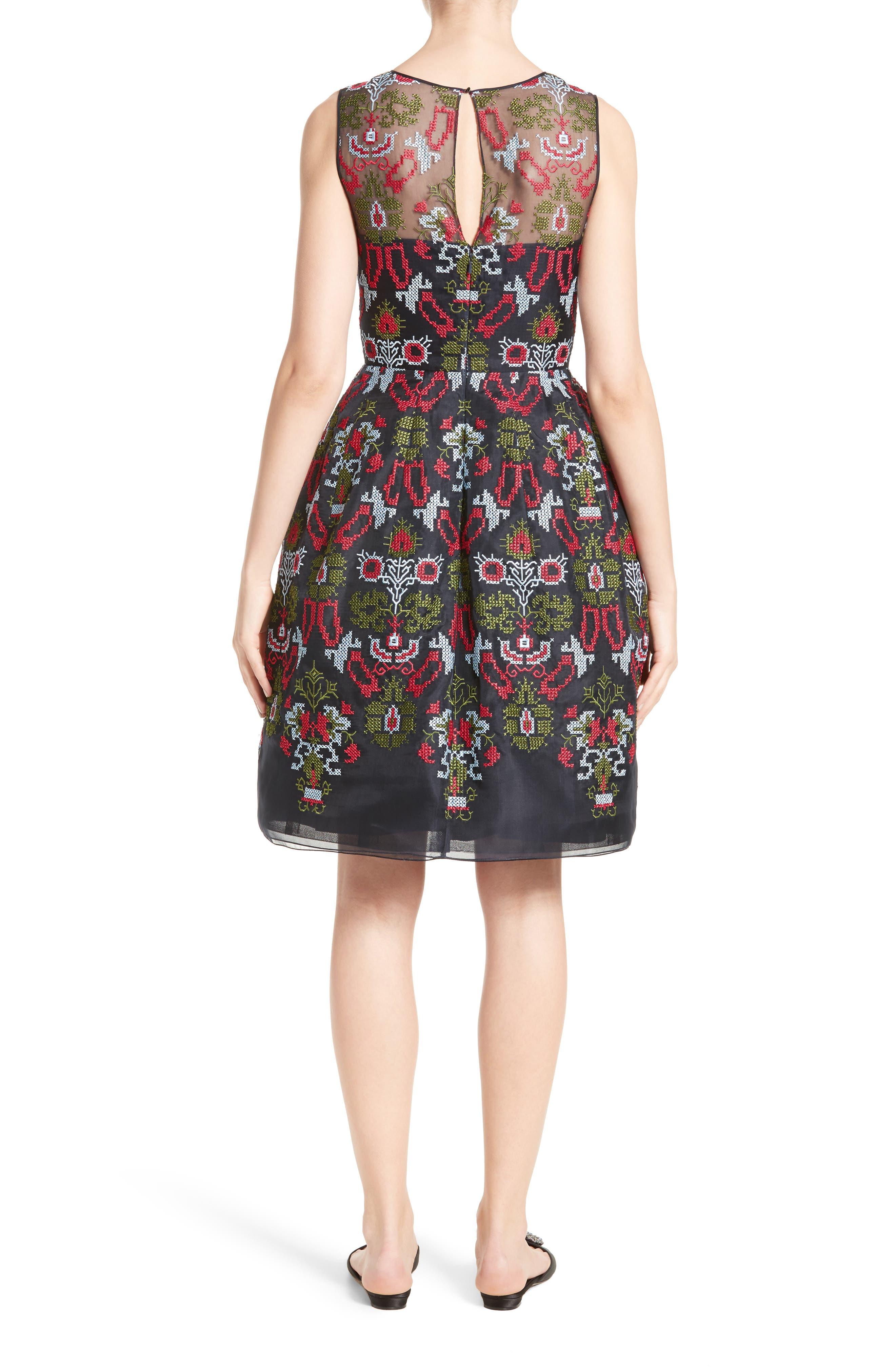 Alternate Image 2  - Oscar de la Renta Needlepoint Fit & Flare Dress