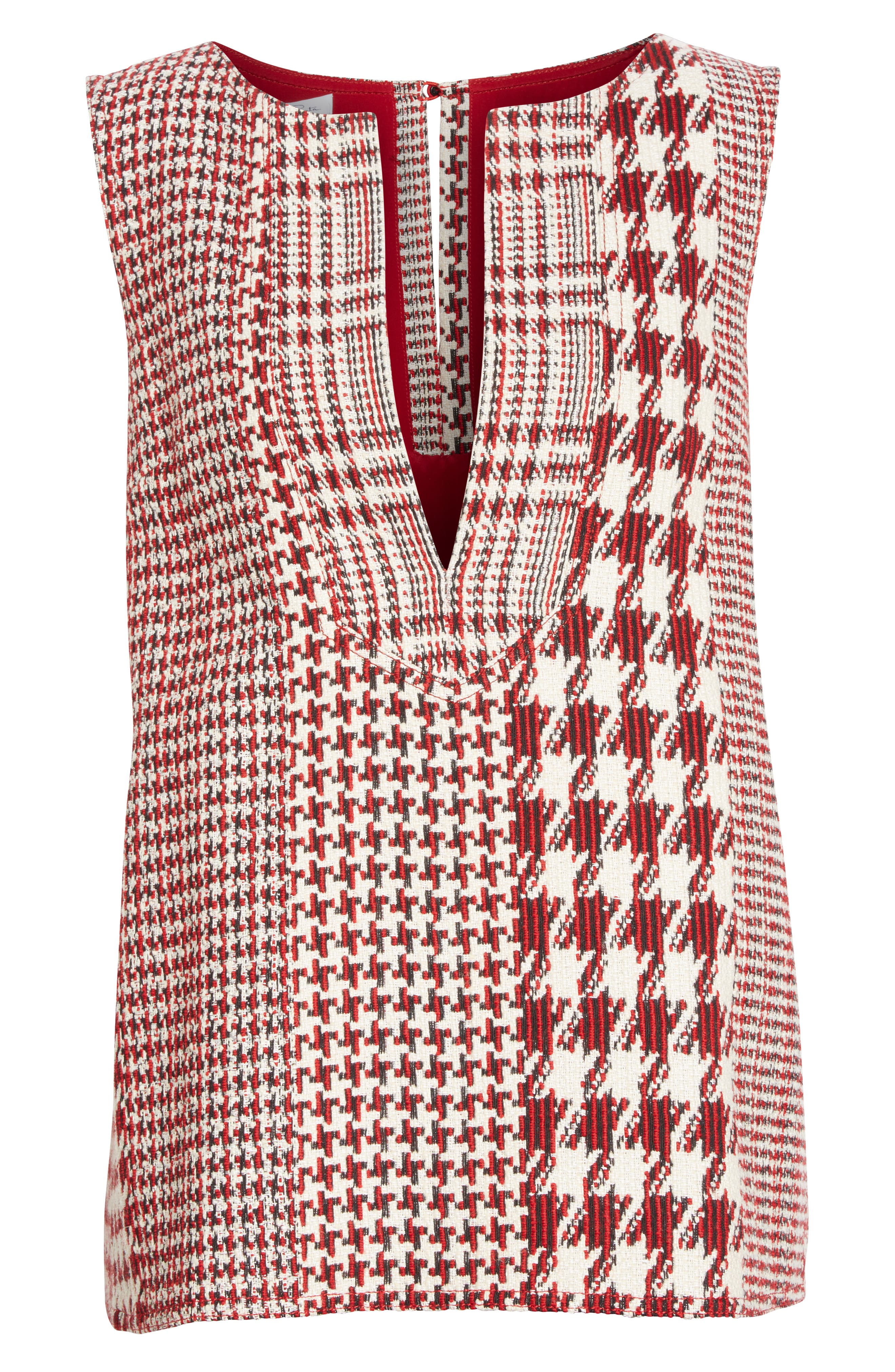 Houndstooth Watteau Blouse,                             Alternate thumbnail 8, color,                             Red Multi