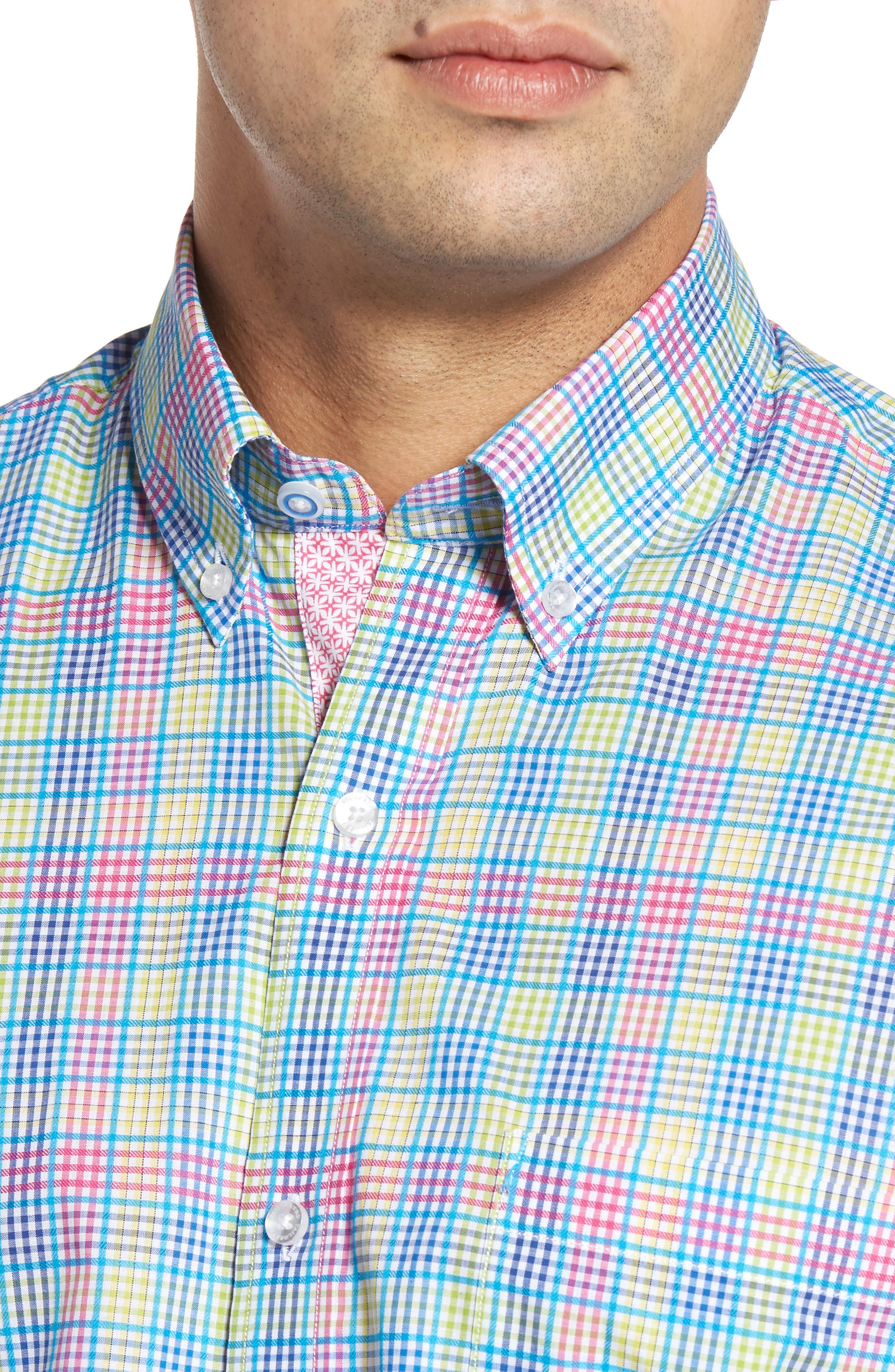 Peachleaf Sport Shirt,                             Alternate thumbnail 4, color,                             Blue/ Lime