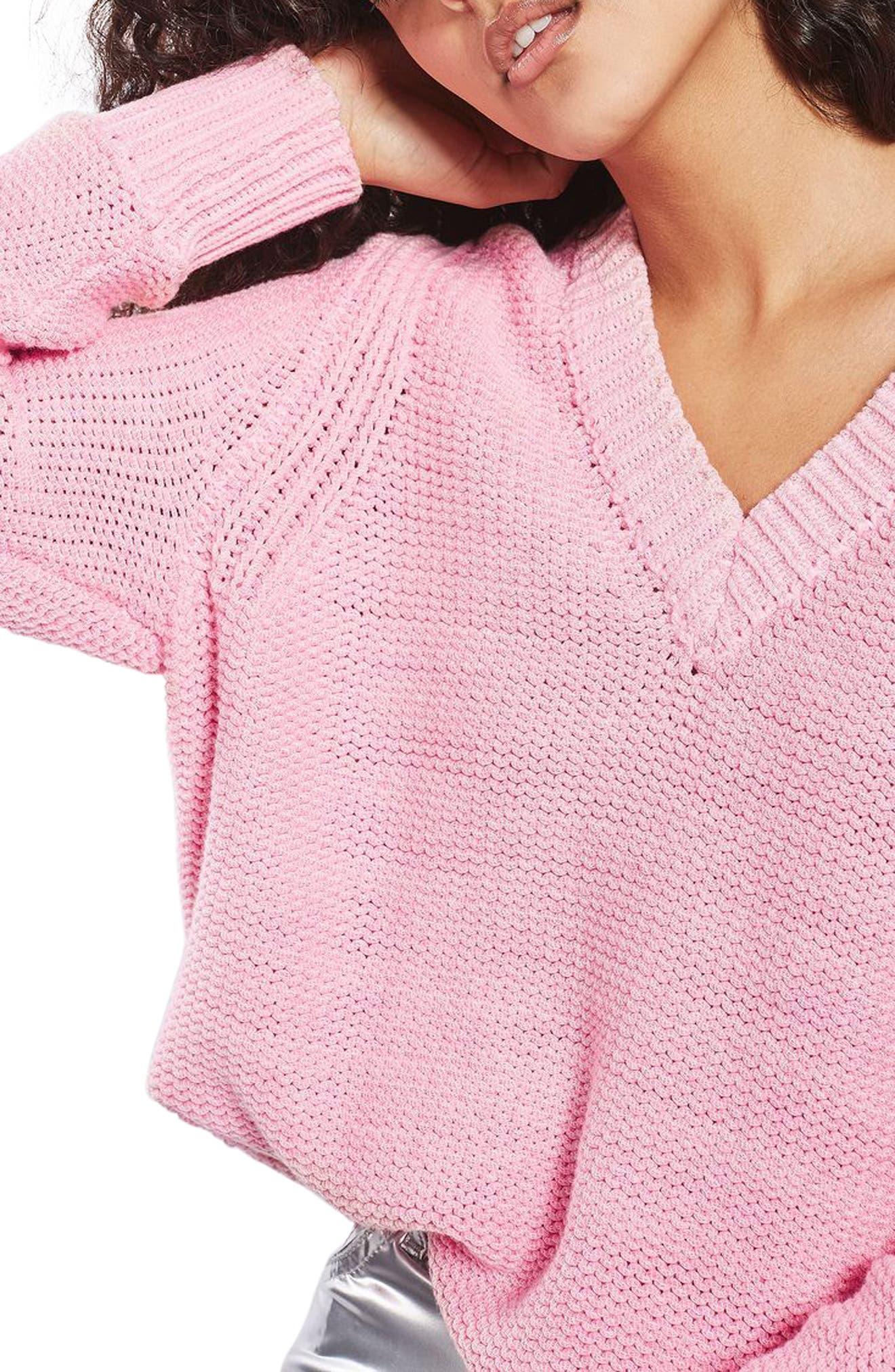 Alternate Image 5  - Topshop Oversize V-Neck Sweater