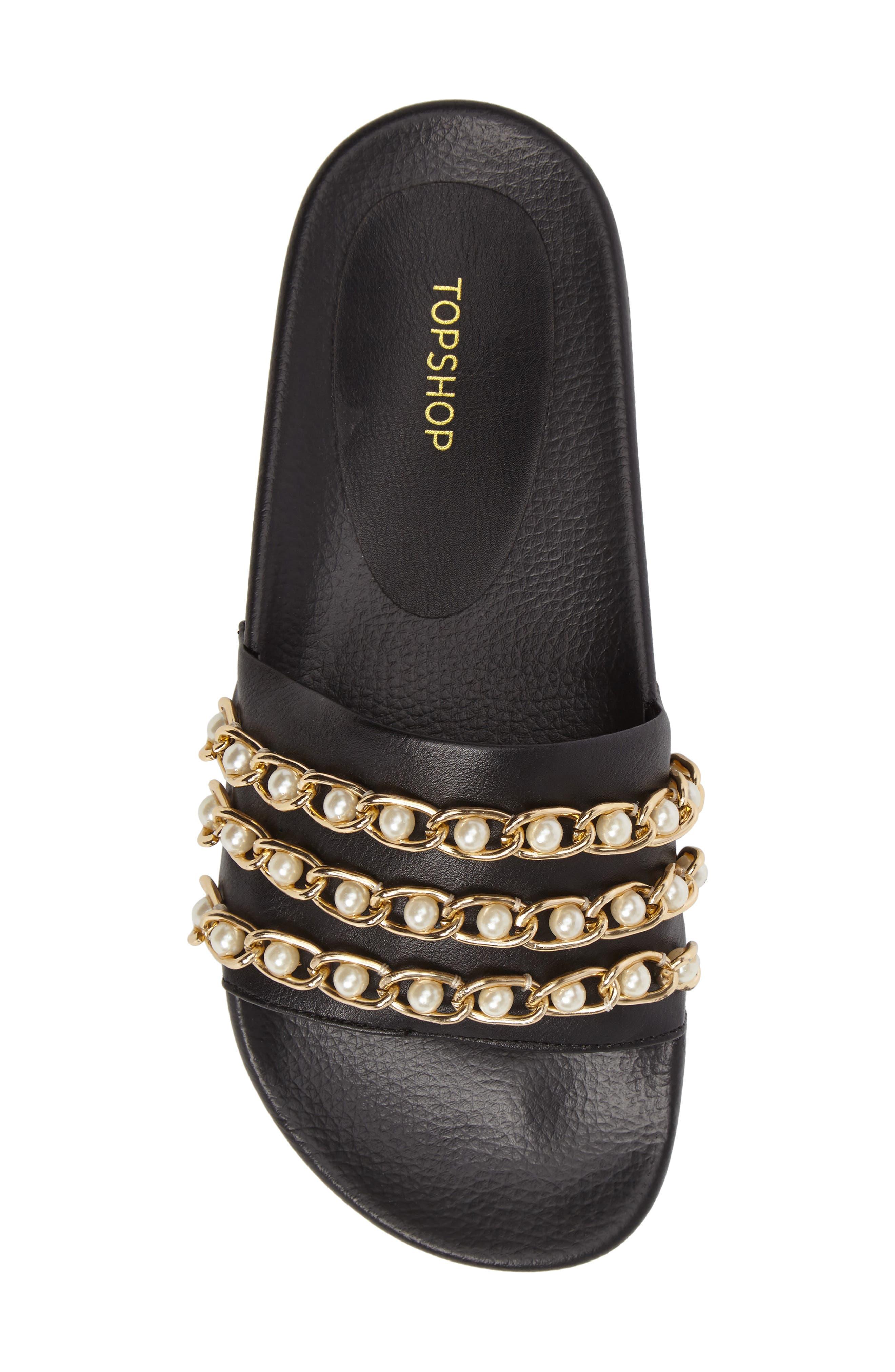 Hottie Pearl Chain Slide Sandal,                             Alternate thumbnail 5, color,                             Black Multi