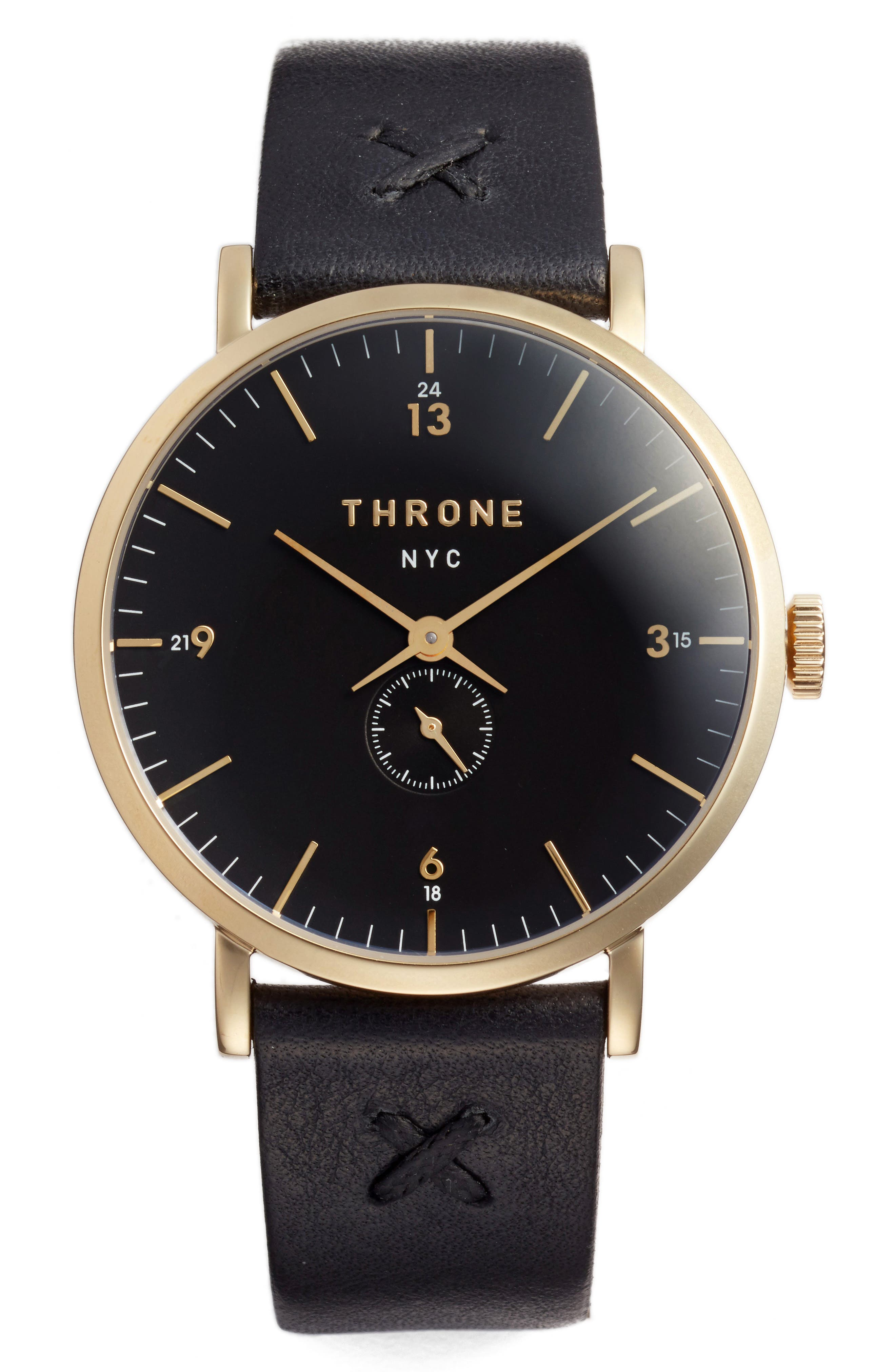 1.0 Leather Strap Watch, 40mm,                         Main,                         color, Black/ Gold