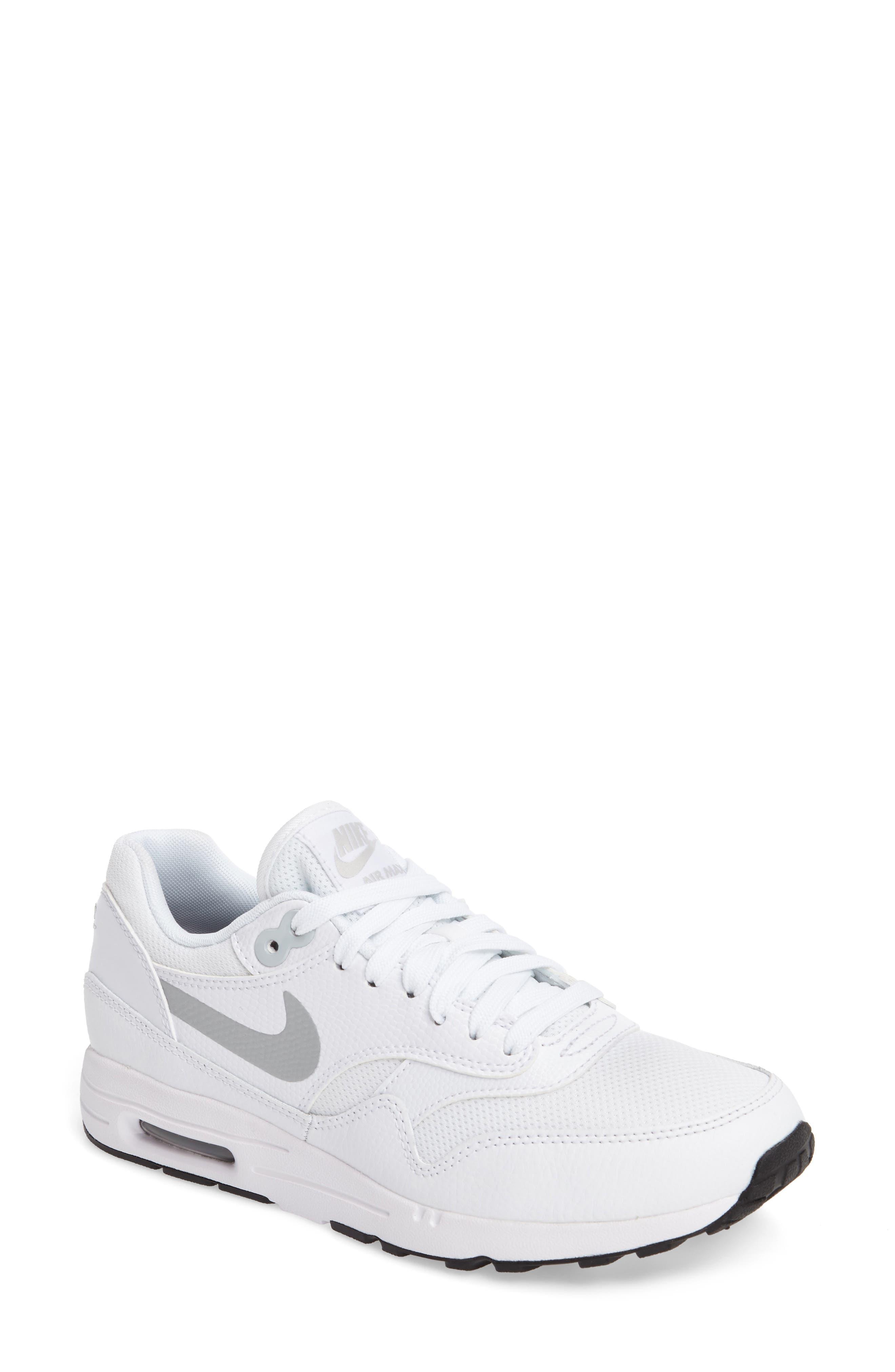 Air Max 1 Ultra 2.0 Running Shoe,                             Main thumbnail 1, color,                             White/ Platinum/ Black/ White