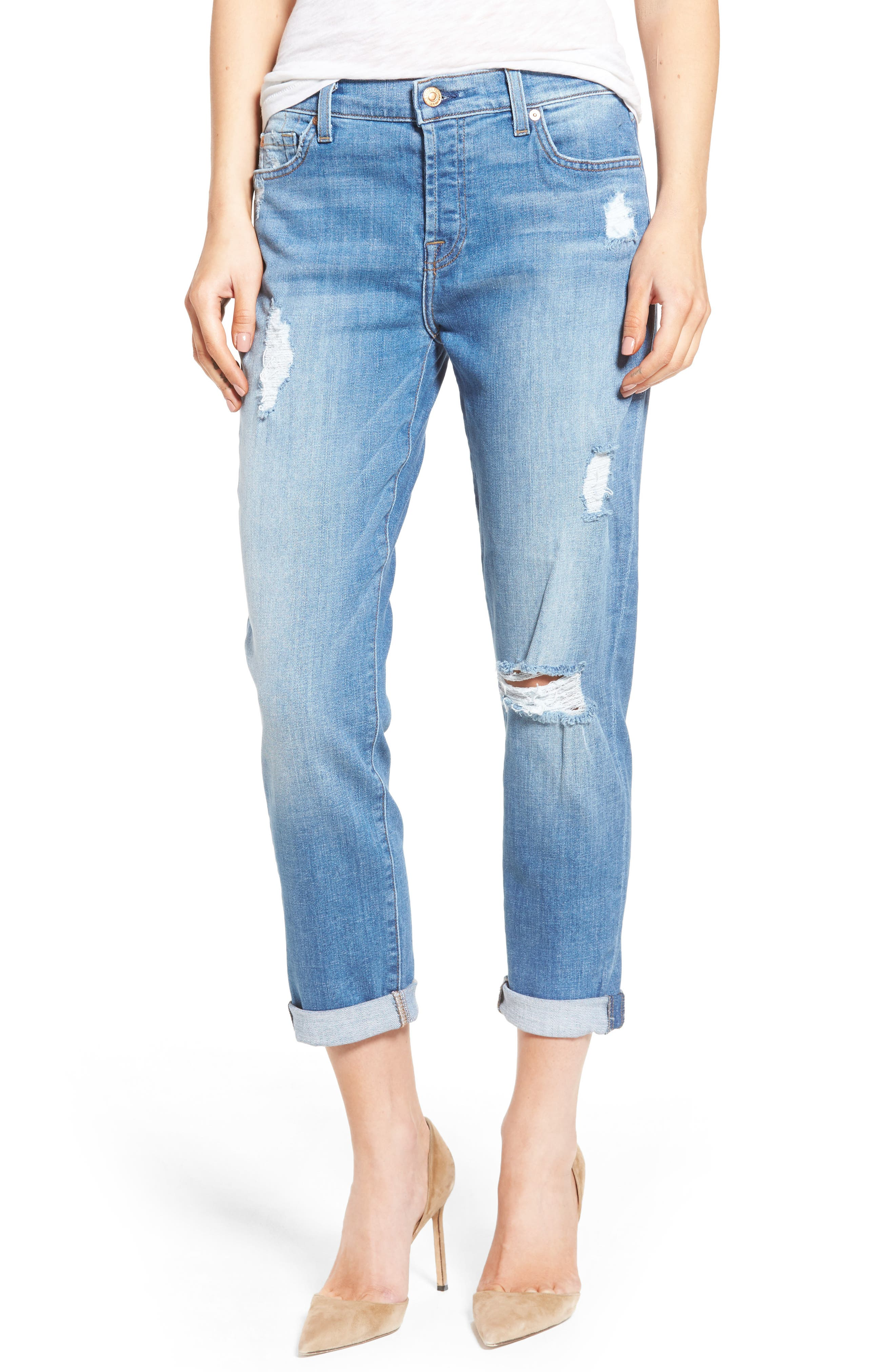 Main Image - 7 For All Mankind® 'Josefina' Mid Rise Boyfriend Jeans (Adelaide Bright Blue 2)