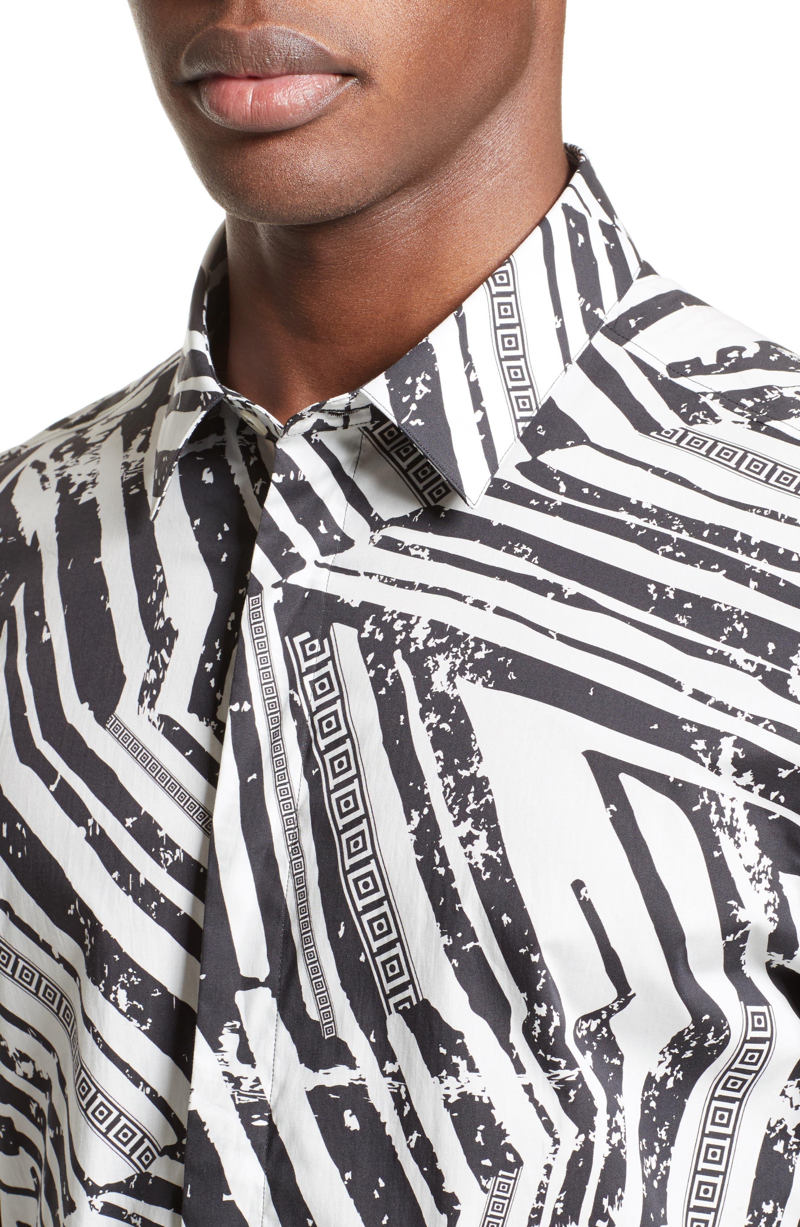 Slim Fit Allover Print Sport Shirt,                             Alternate thumbnail 4, color,                             White