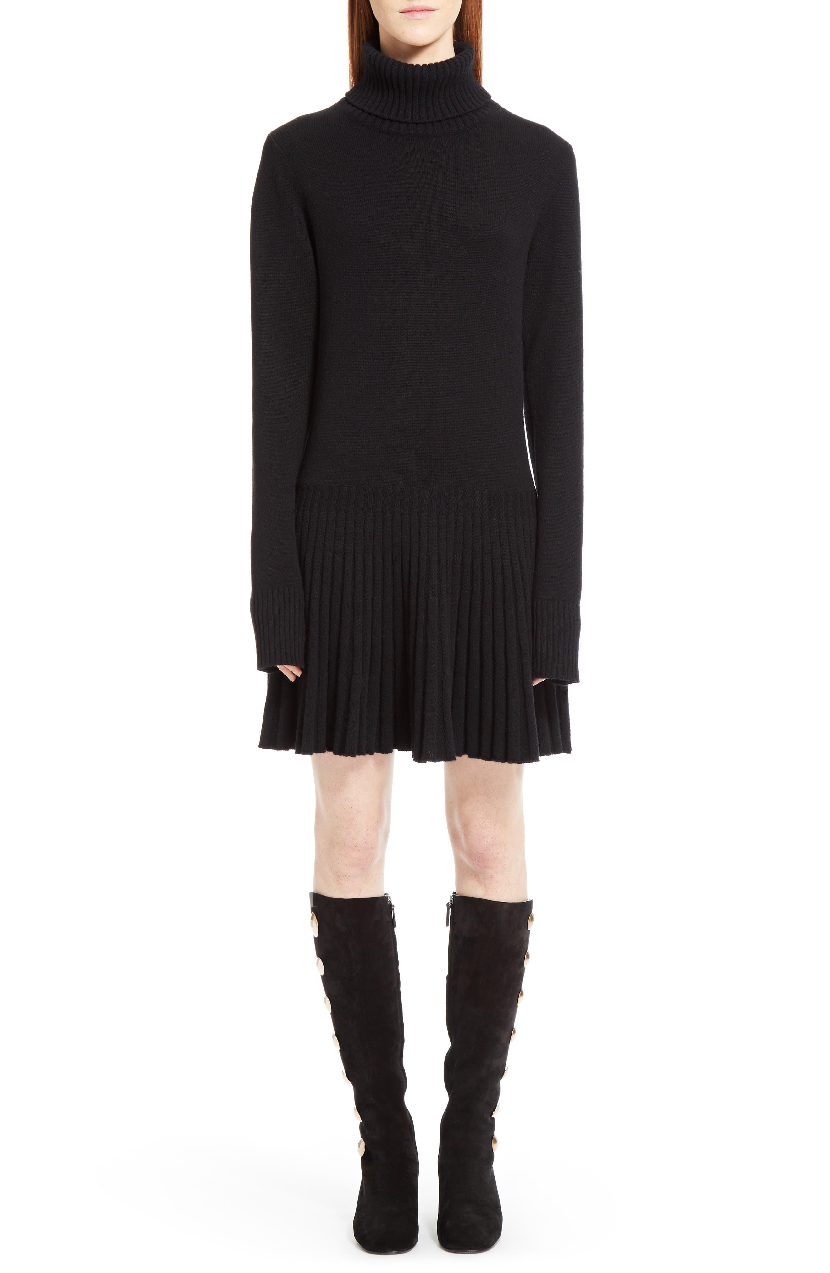 Cashmere Pleated Turtleneck Dress,                         Main,                         color, Black