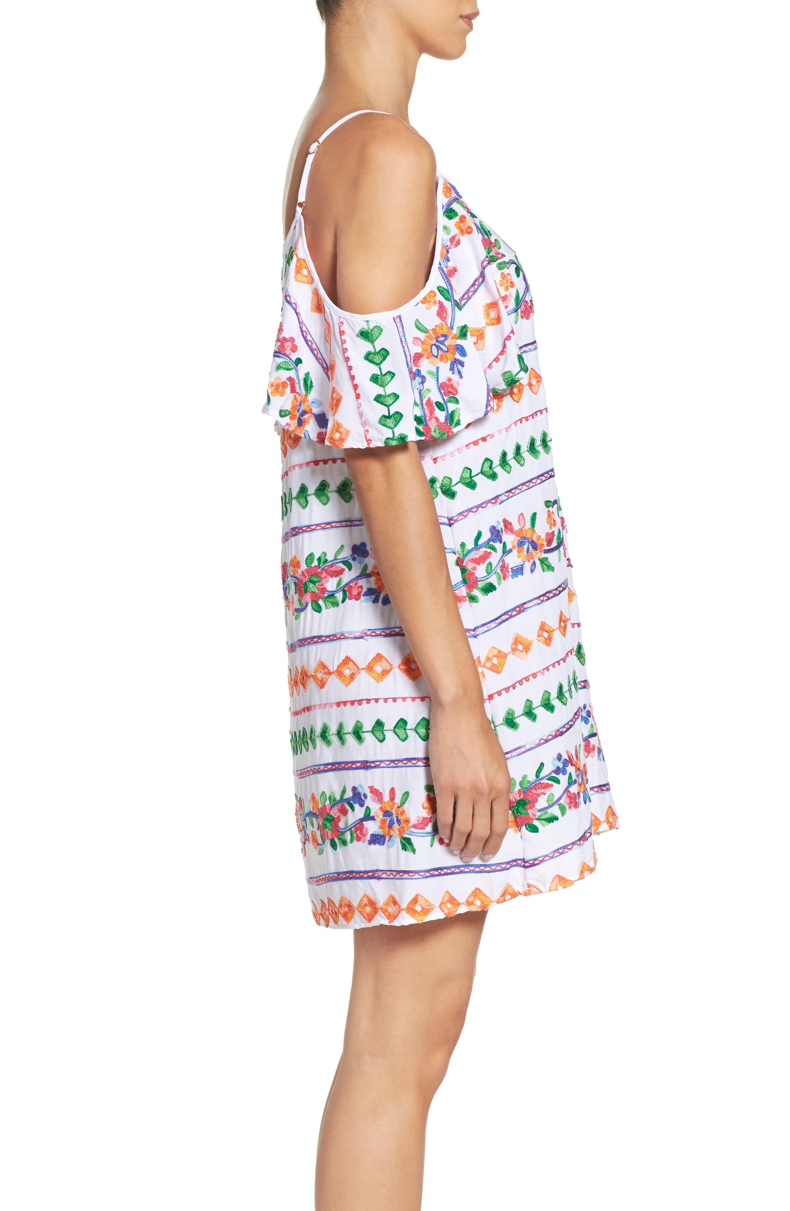 Eden Cover-Up Dress,                             Alternate thumbnail 3, color,                             Coral Multi