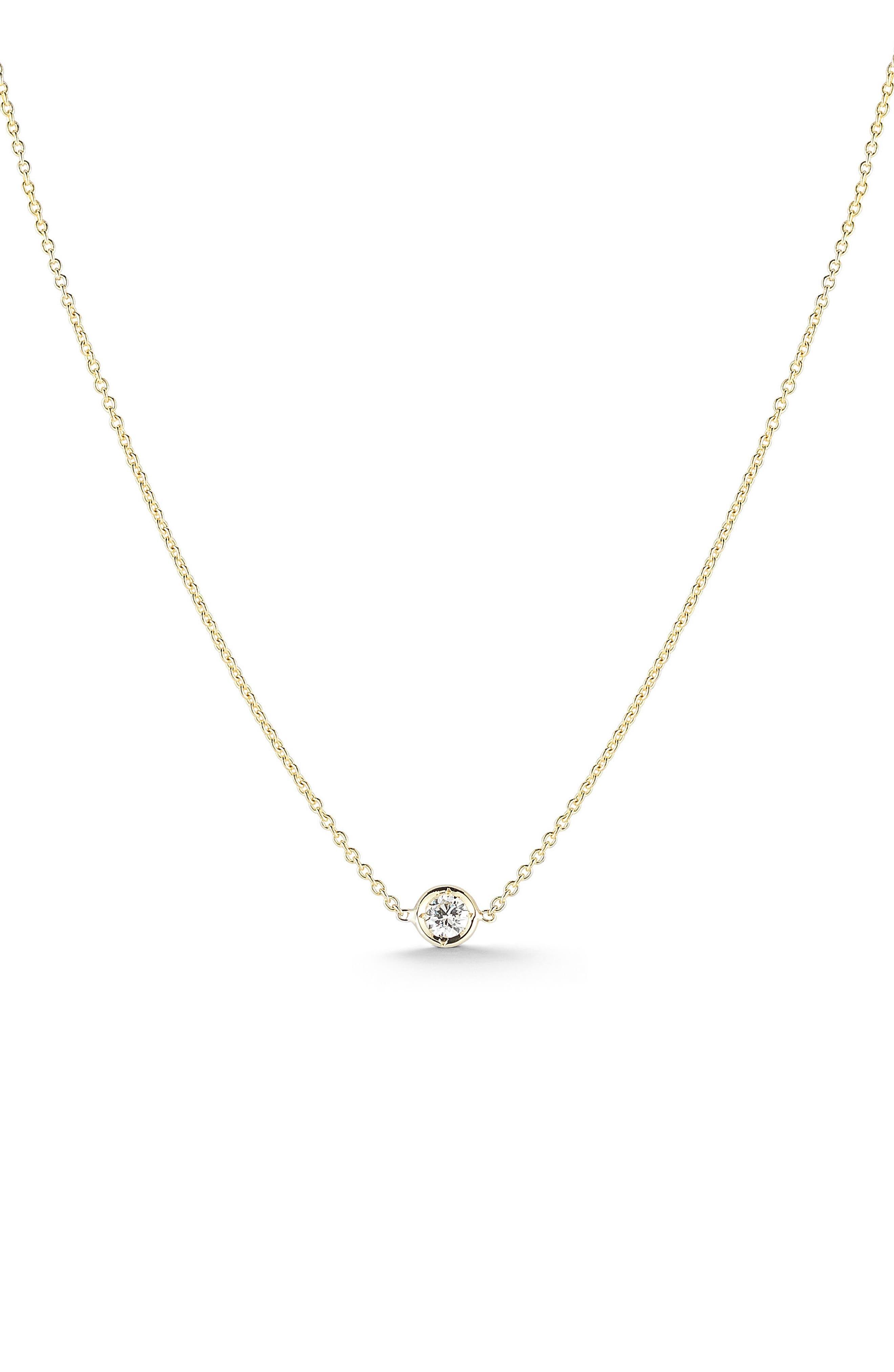 Tiny Treasures Diamond Bezel Necklace,                             Main thumbnail 1, color,                             Yellow