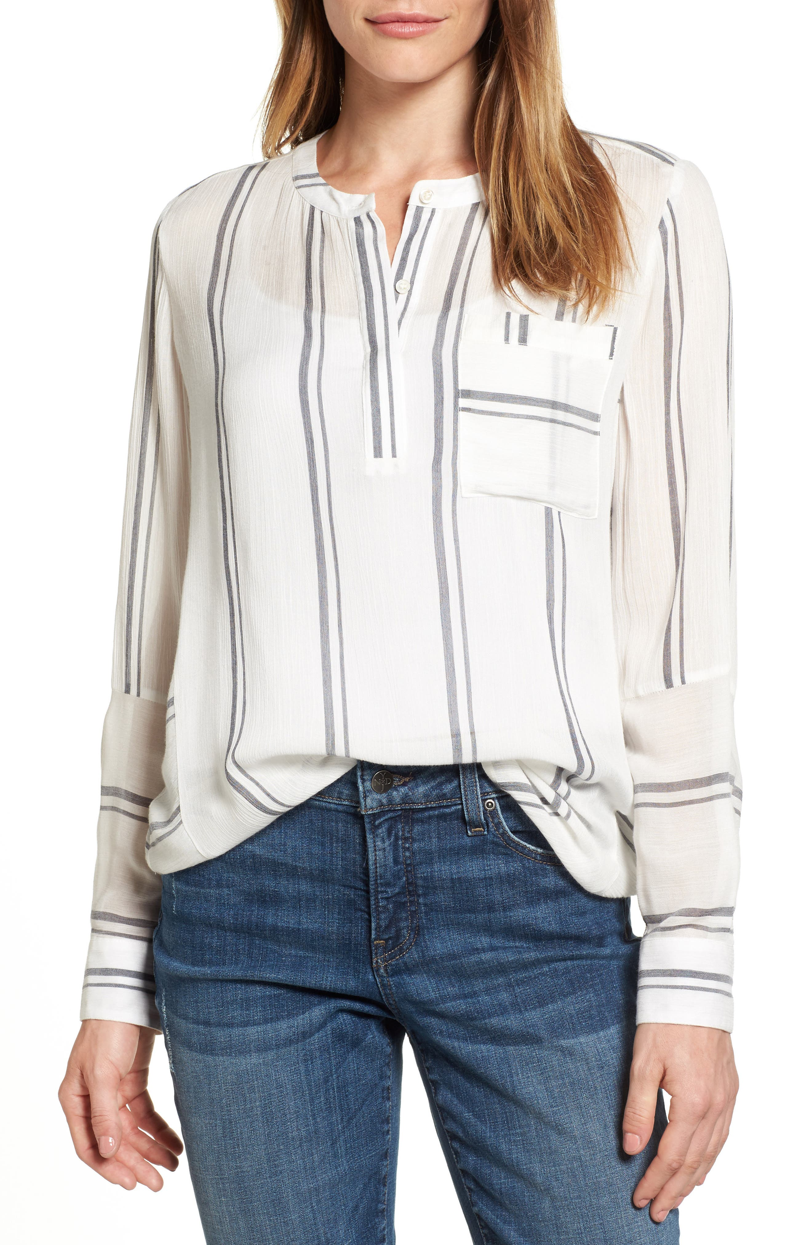 Two by Vince Camuto Parallel Stripe Henley Shirt