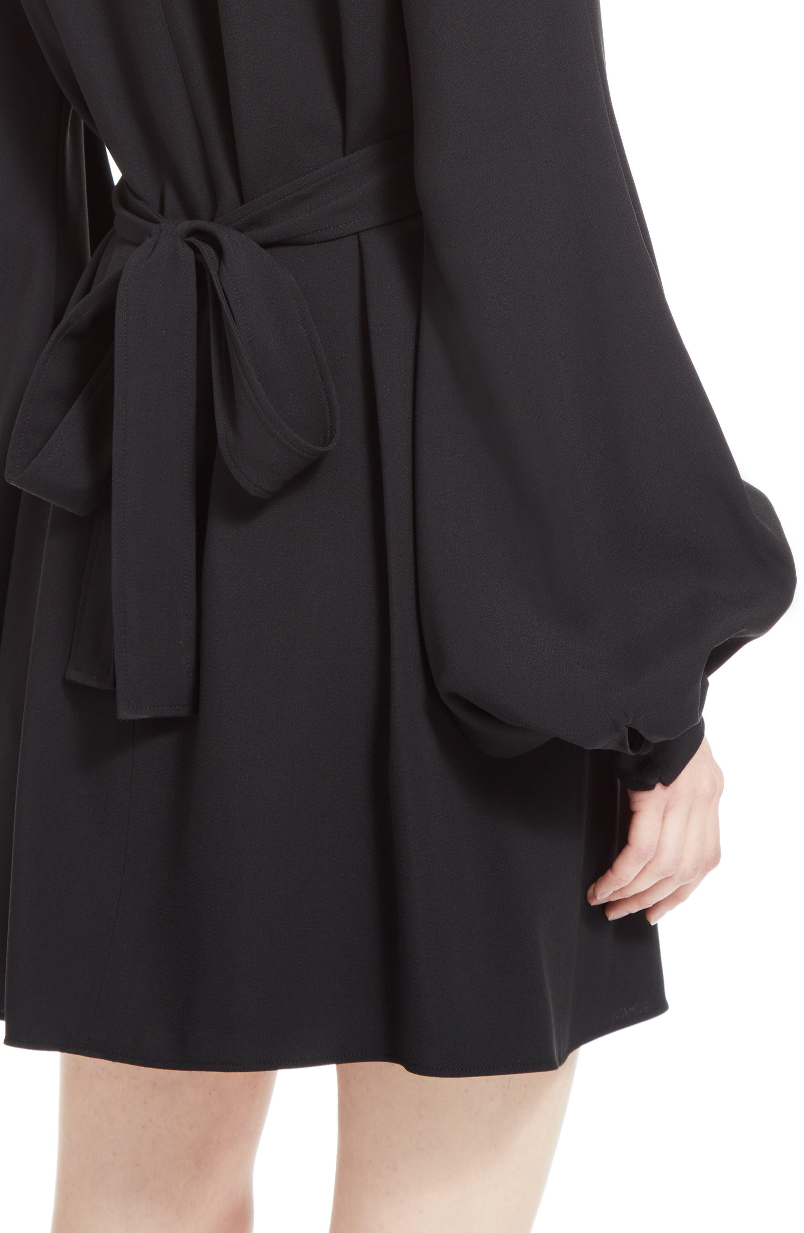 Cady Bell Sleeve Dress,                             Alternate thumbnail 6, color,                             Black