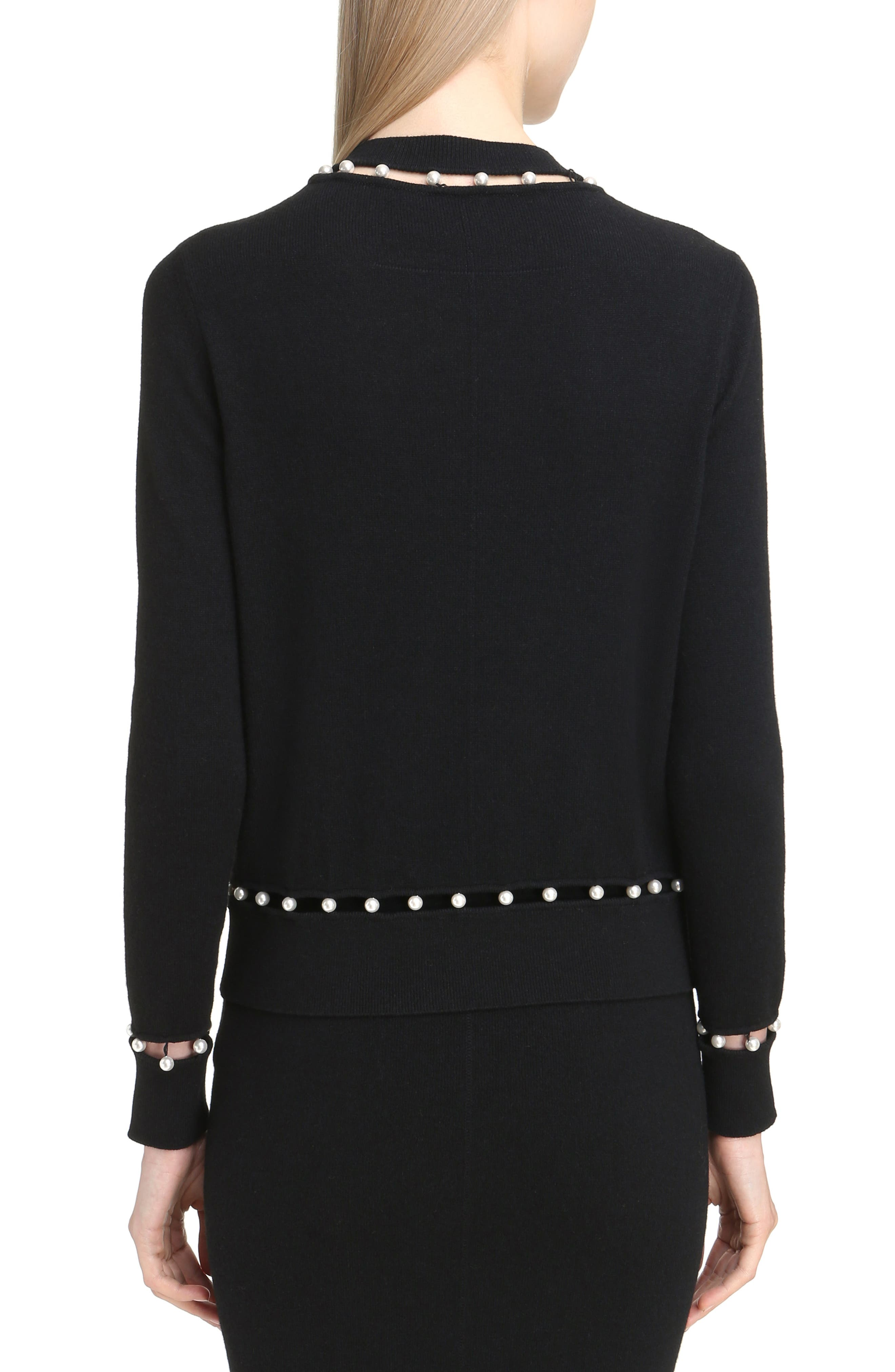 Imitation Pearl Inset Wool Blend Sweater,                             Alternate thumbnail 2, color,                             Black