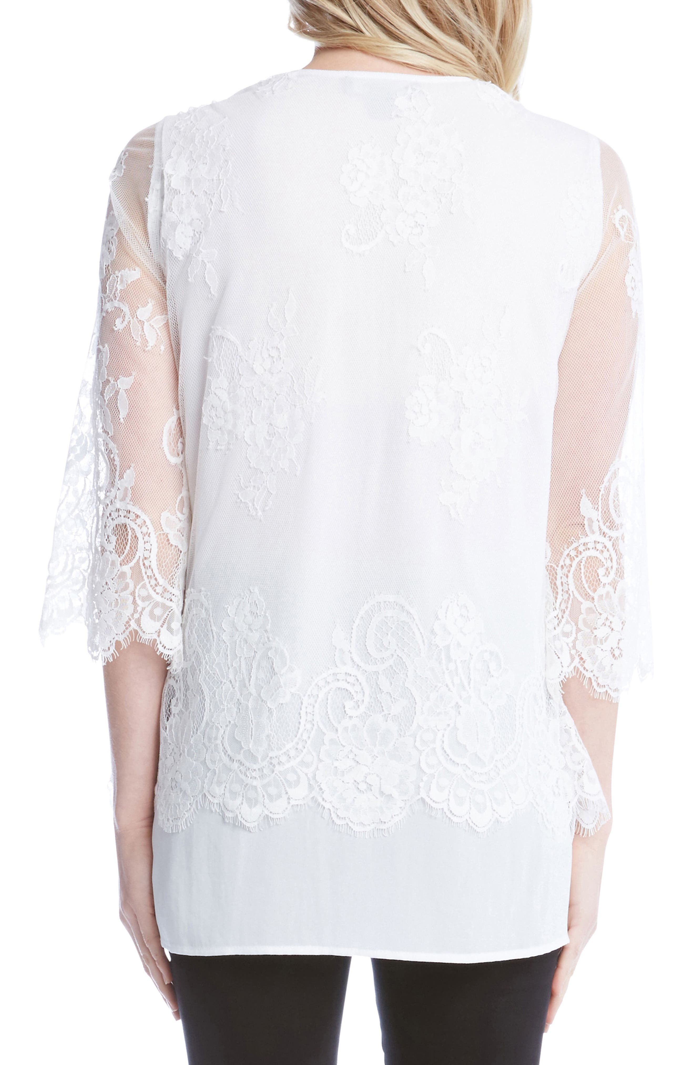Lace Overlay Asymmetrical Top,                             Alternate thumbnail 2, color,                             Off White