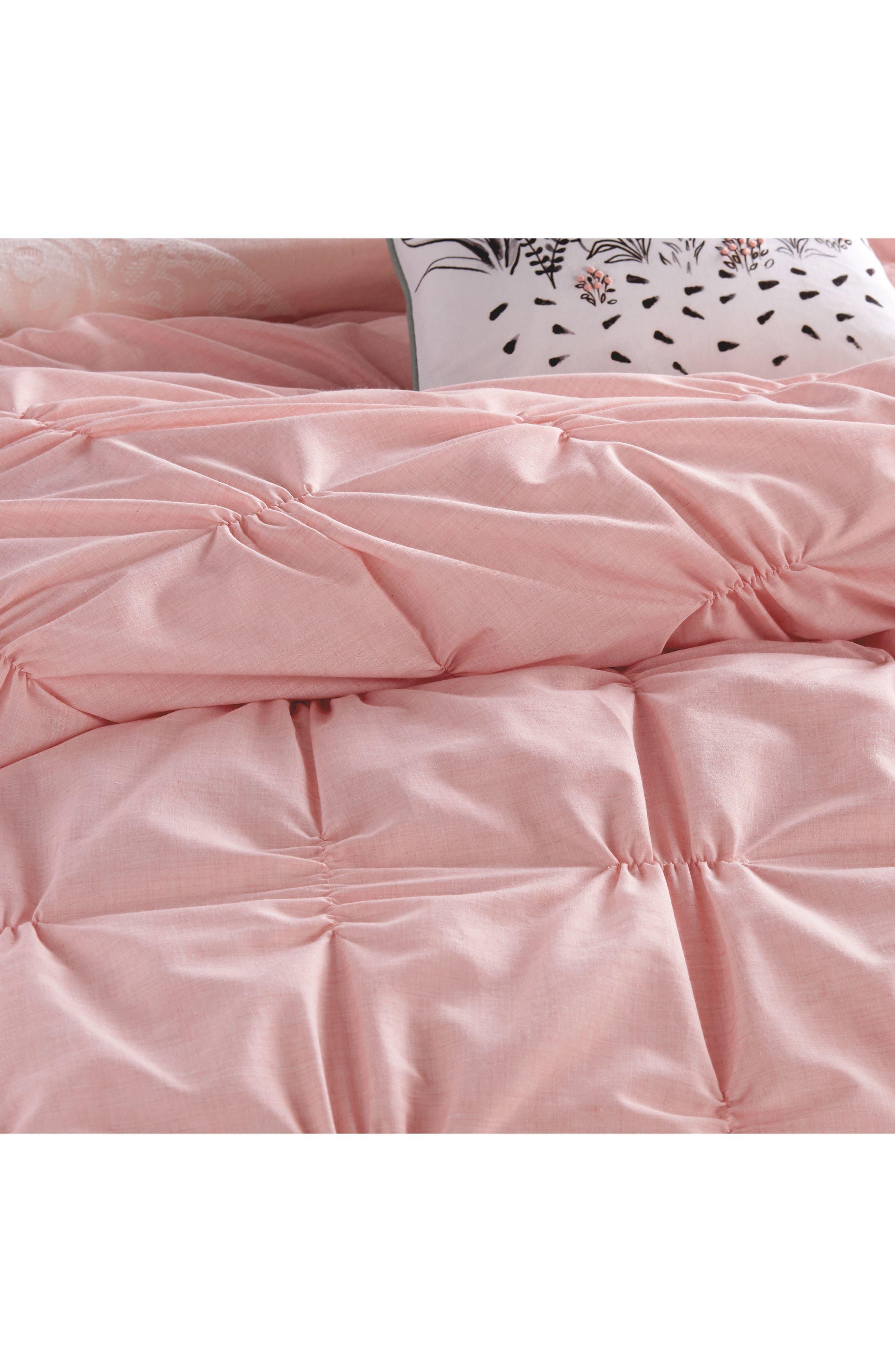 Check Smocked Comforter & Sham Set,                             Alternate thumbnail 3, color,                             Blush