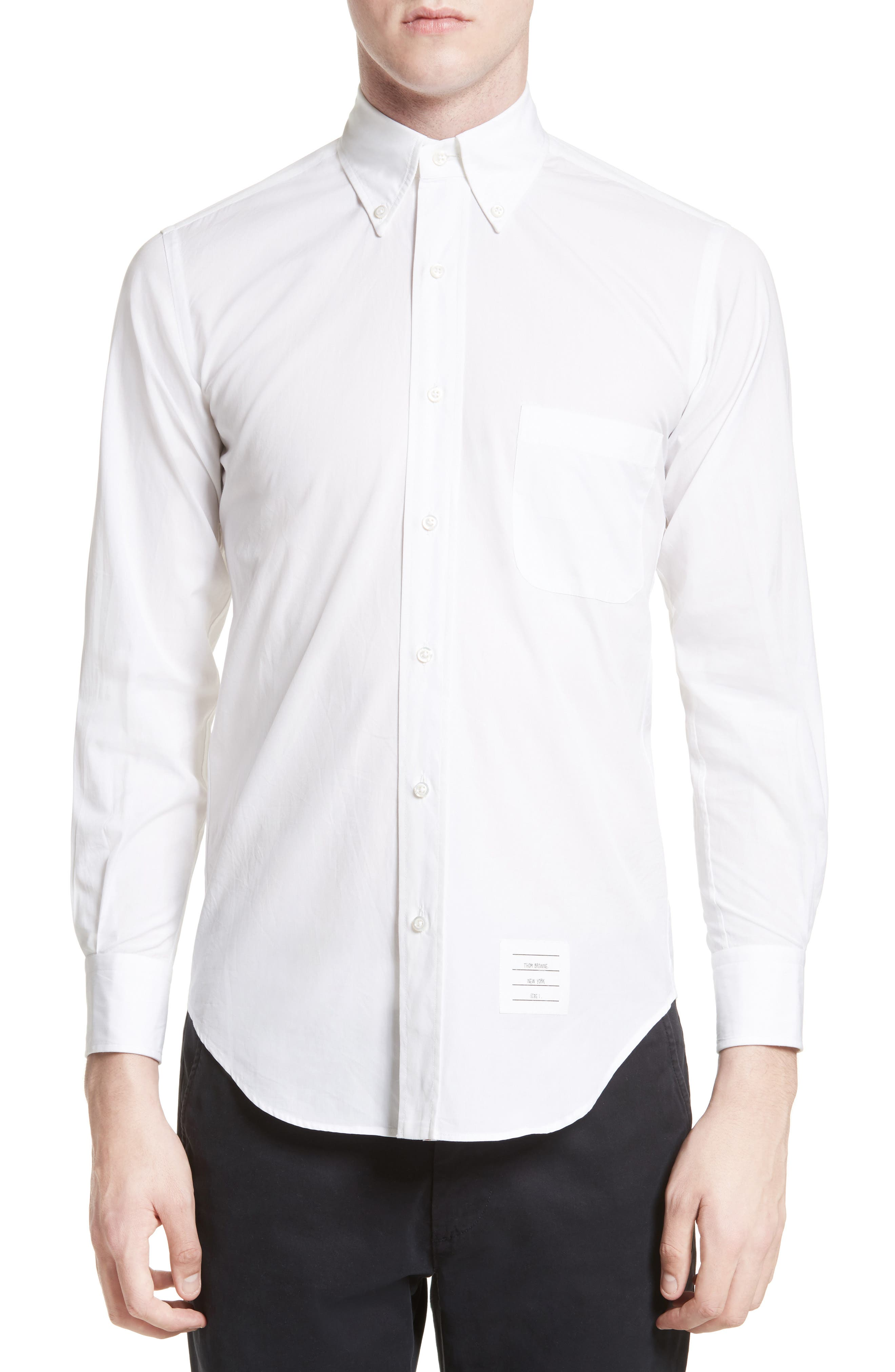 Thom Browne Trim Fit Engineered Placket Sport Shirt