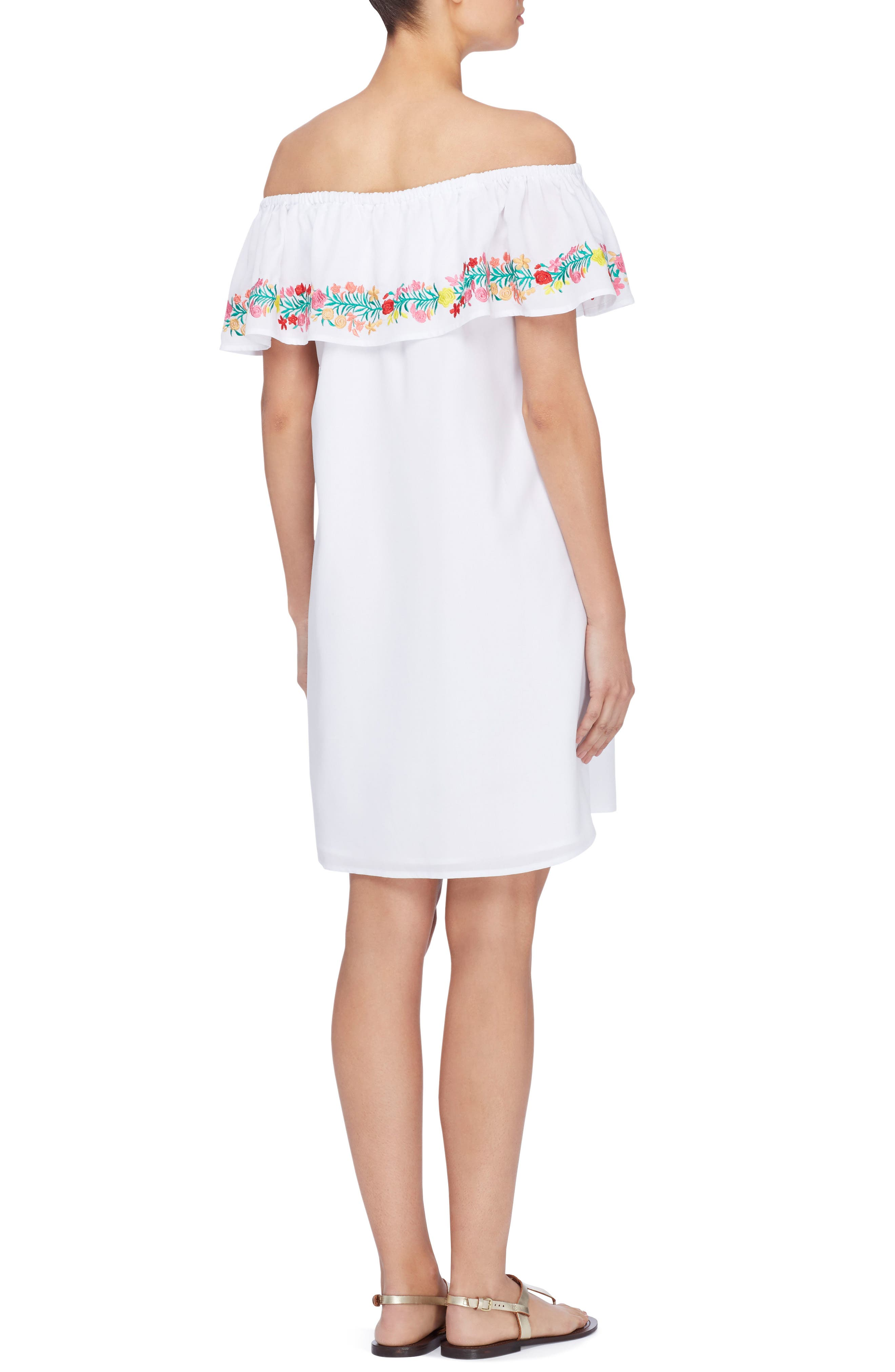 Leonie Embroidered Ruffle Shift Dress,                             Alternate thumbnail 2, color,                             Bright White