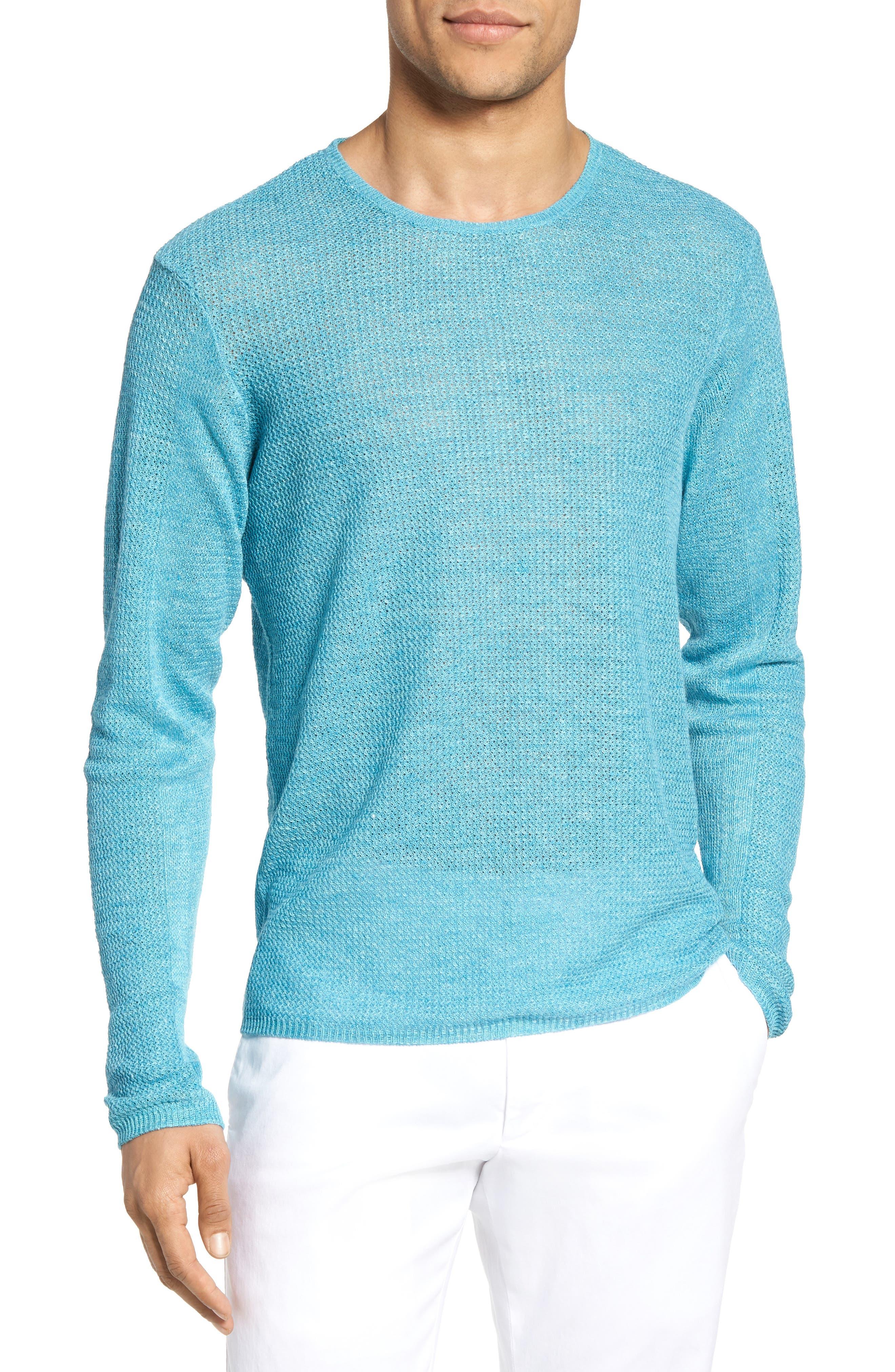 Chapman Linen Sweater,                         Main,                         color, Aqua