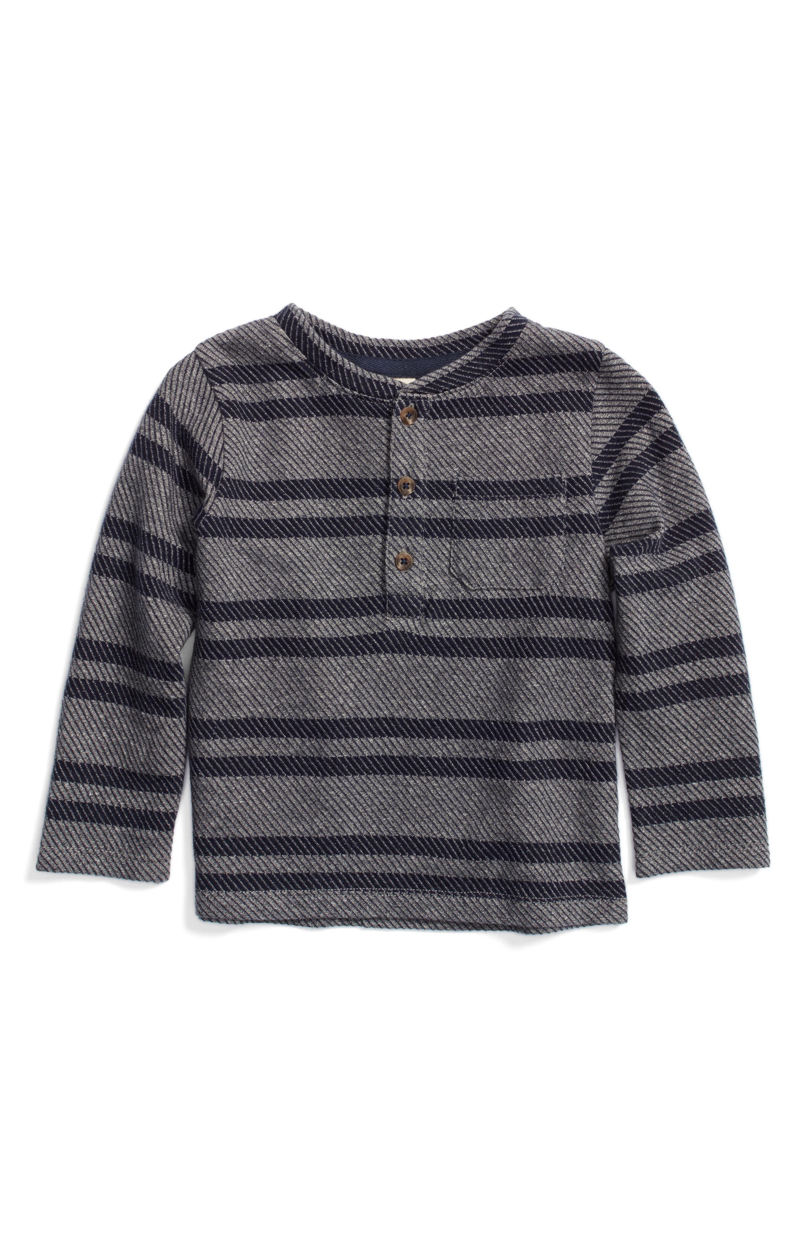 Twill Stripe Henley T-Shirt,                             Main thumbnail 1, color,                             Grey Alloy- Navy Stripe