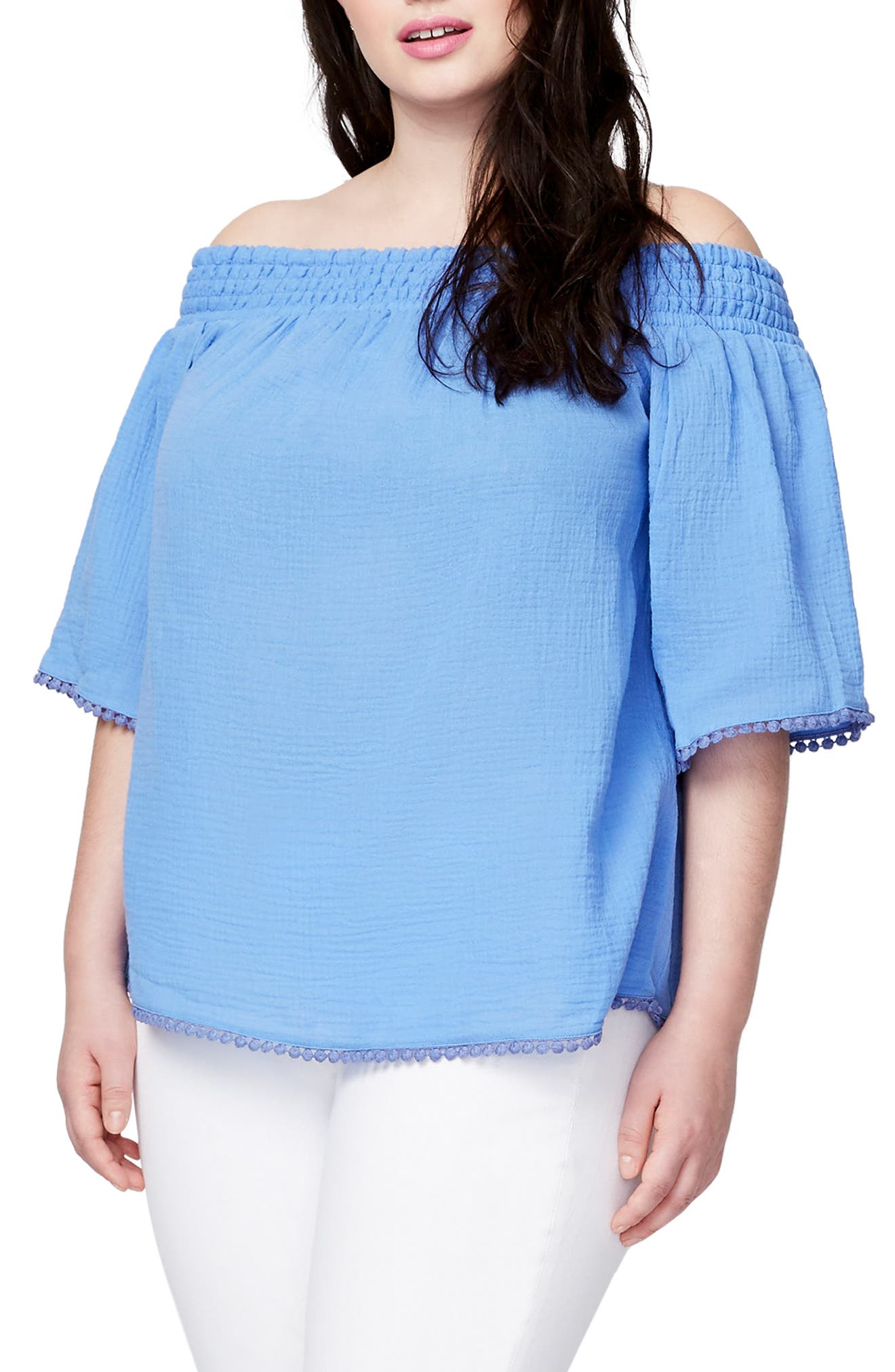 Smocked Off the Shoulder Top,                         Main,                         color, Beach Glass Blue
