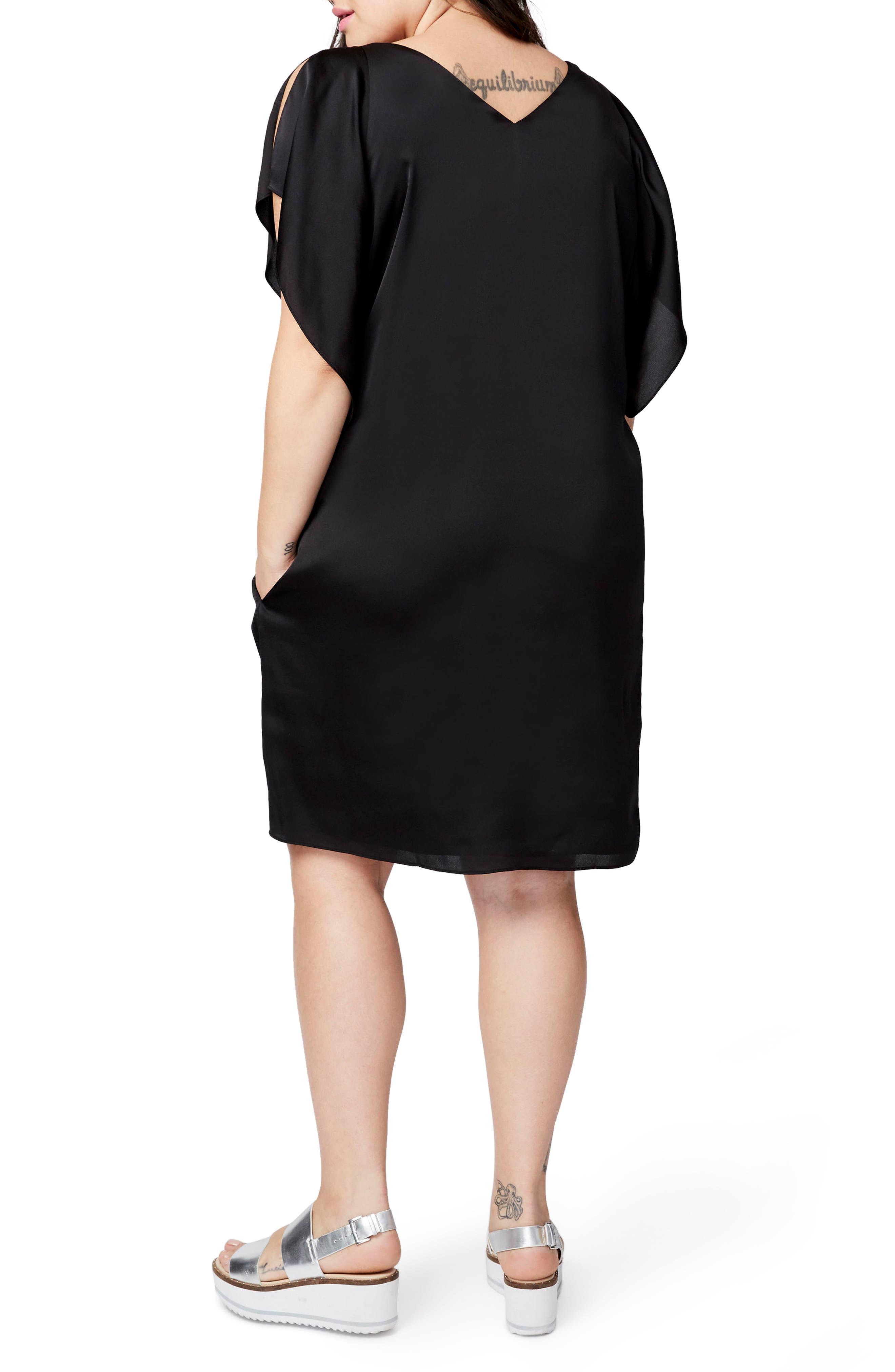 Flutter Sleeve Shift Dress,                             Alternate thumbnail 2, color,                             Black