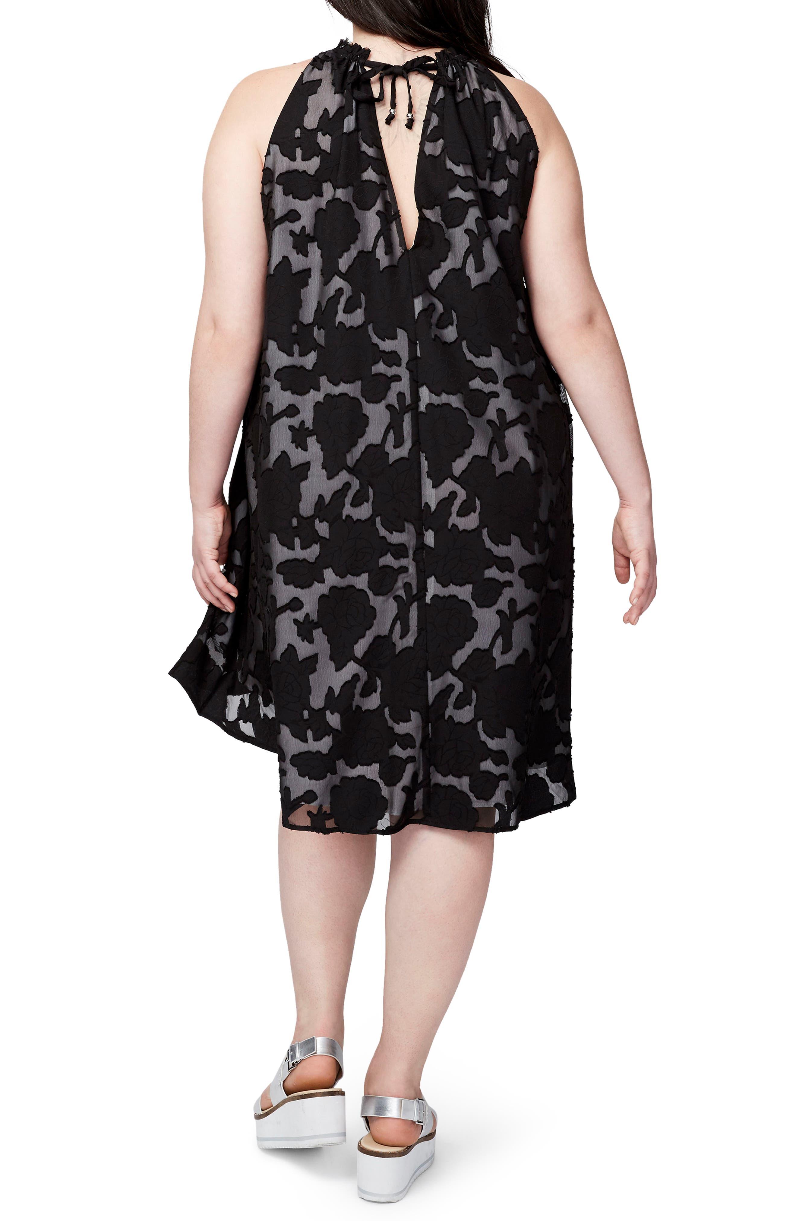Jacqueline Burnout Swing Dress,                             Alternate thumbnail 2, color,                             Black