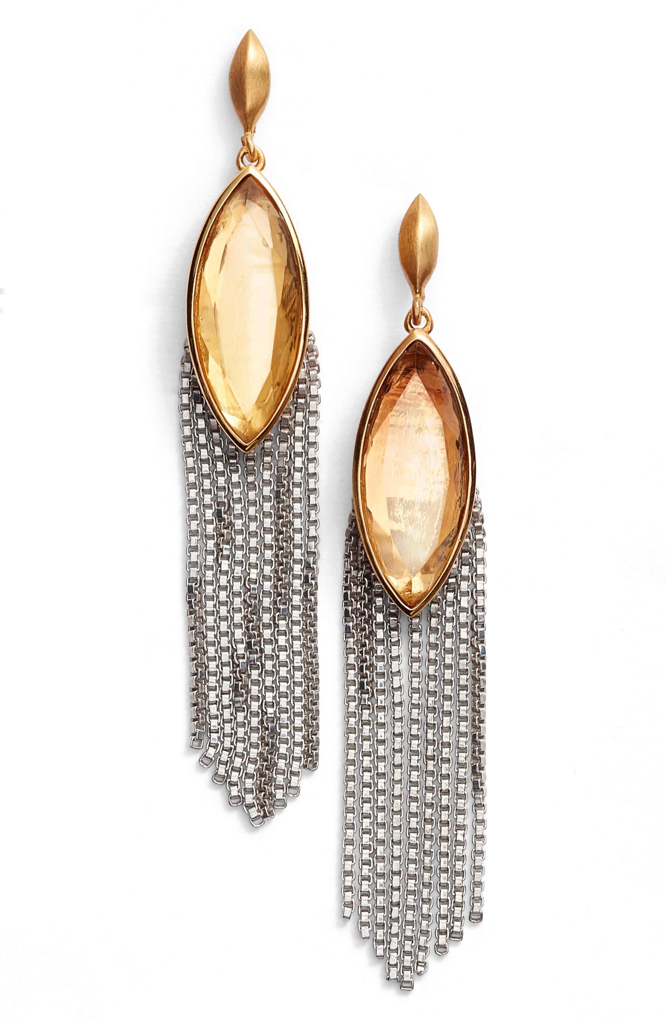 Ornate Semiprecious Stone Fringe Earrings,                             Main thumbnail 1, color,                             Lemon Quartz