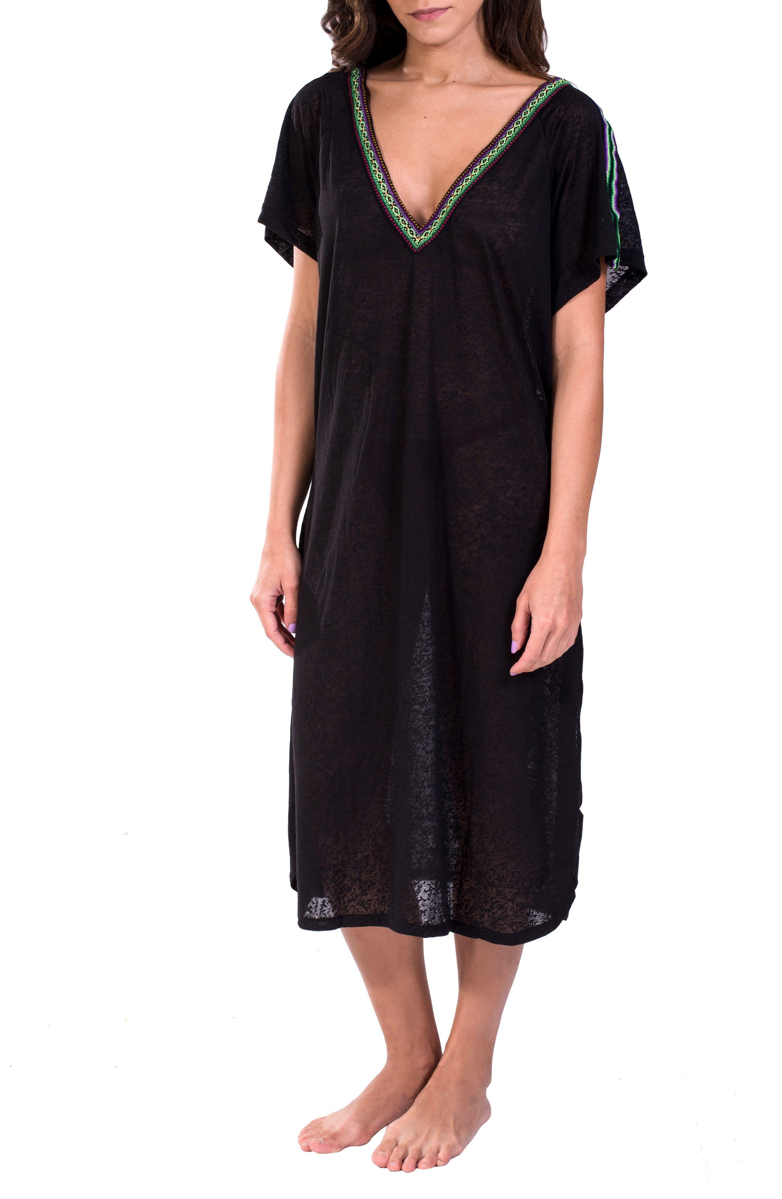 Cover-Up Midi Dress,                             Main thumbnail 1, color,                             Black