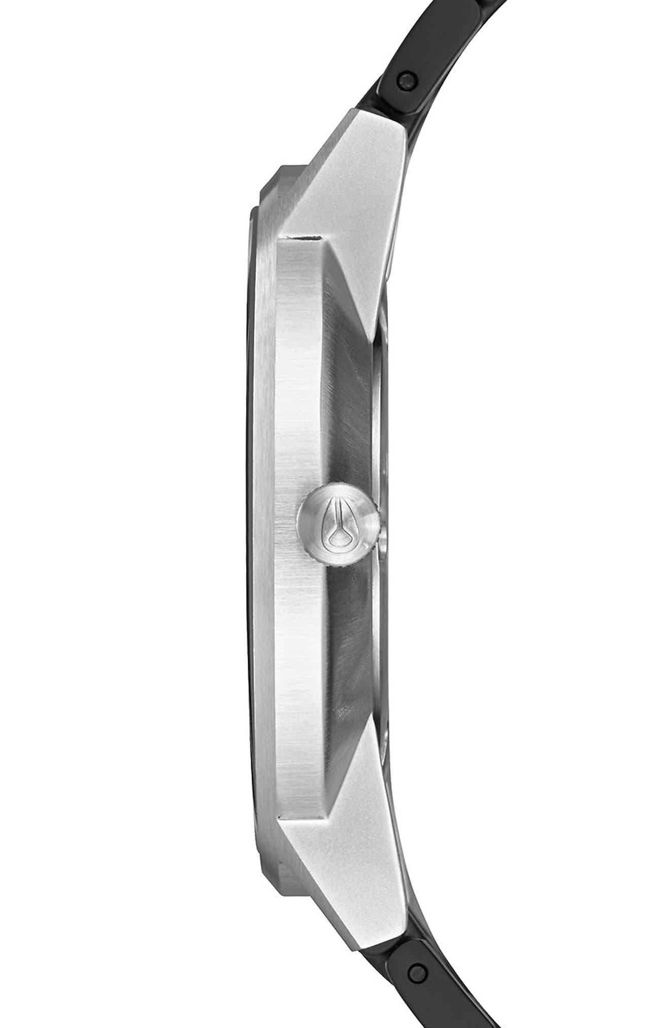 Porter Bracelet Watch, 40mm,                             Alternate thumbnail 3, color,                             Black/ Steel/ Silver
