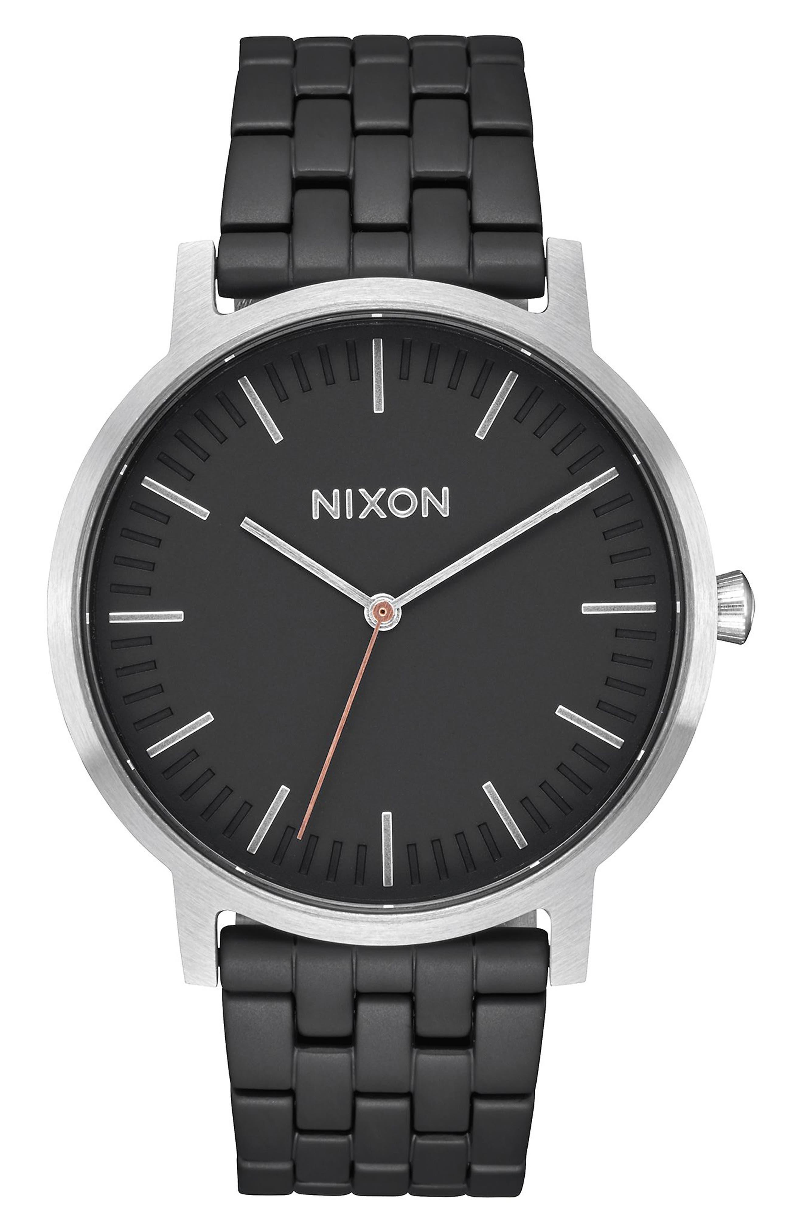 Porter Bracelet Watch, 40mm,                             Main thumbnail 1, color,                             Black/ Steel/ Silver