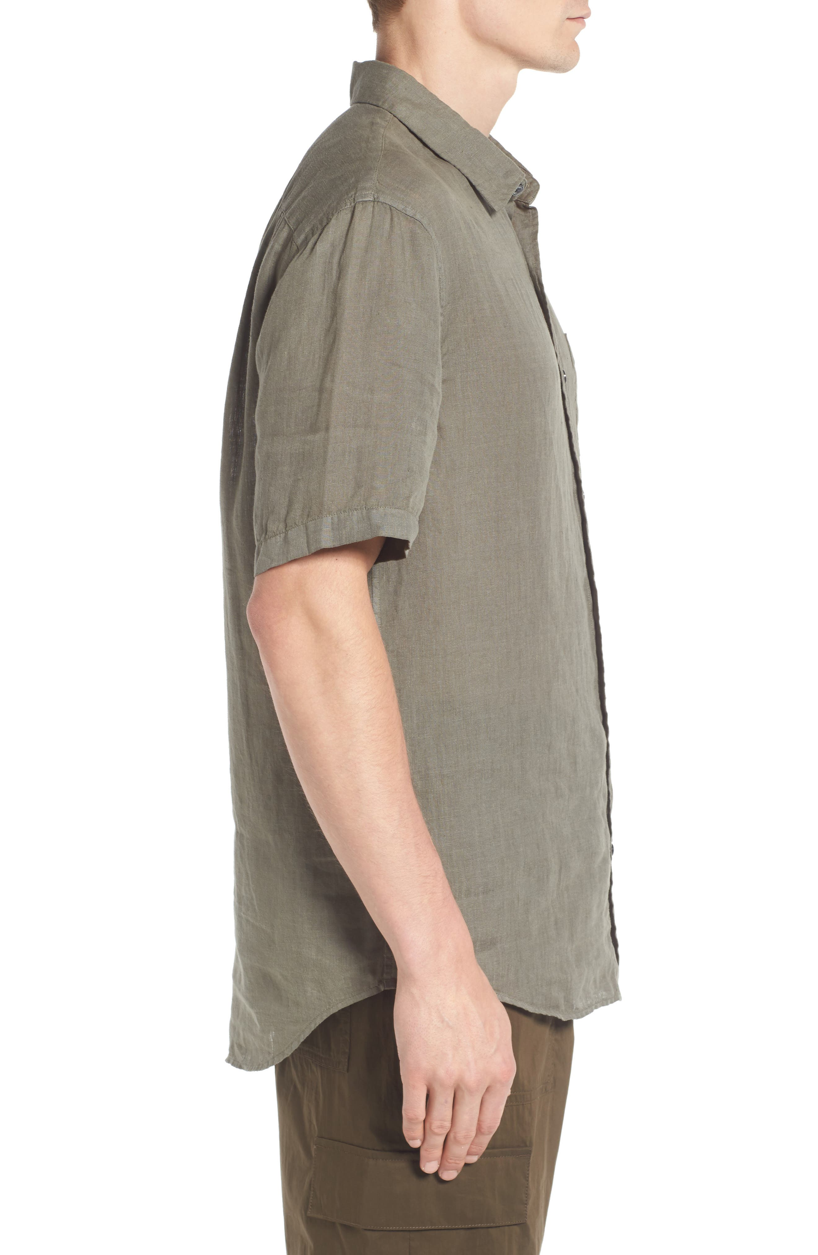 Trim Fit Linen Sport Shirt,                             Alternate thumbnail 3, color,                             Desert Green