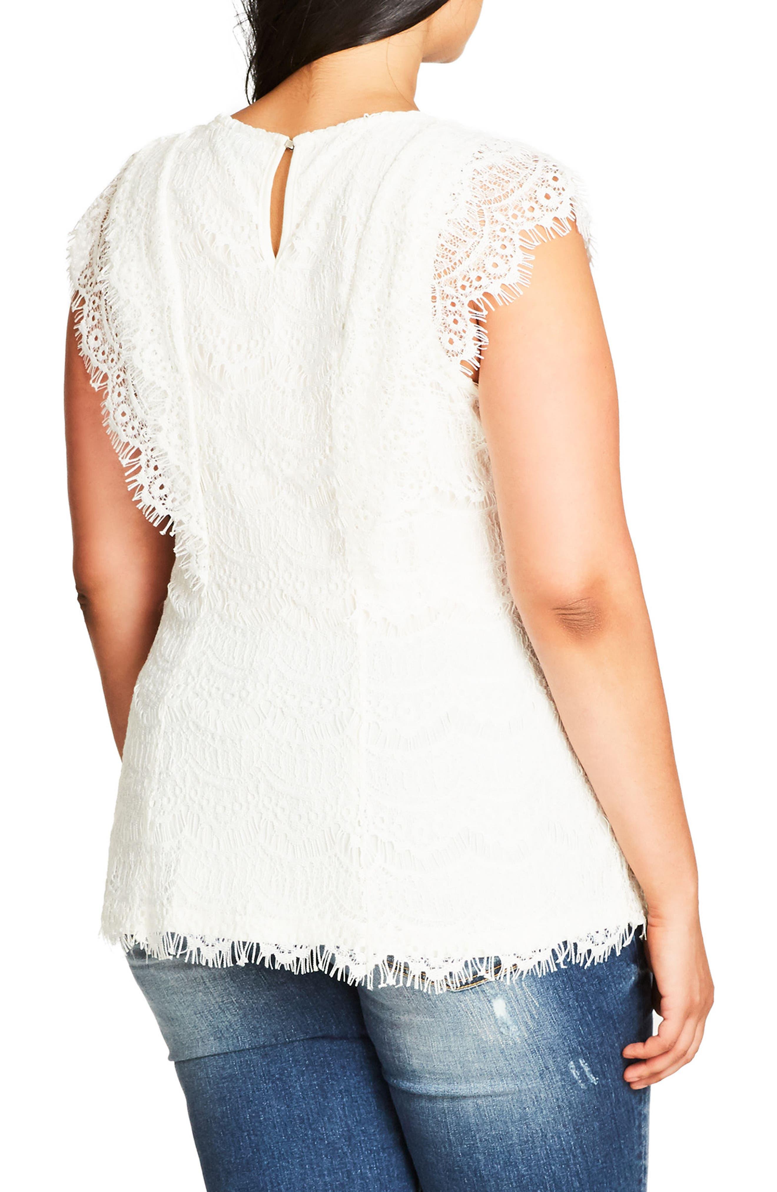 Alternate Image 2  - City Chic Cotton Blend Lace Top (Plus Size)