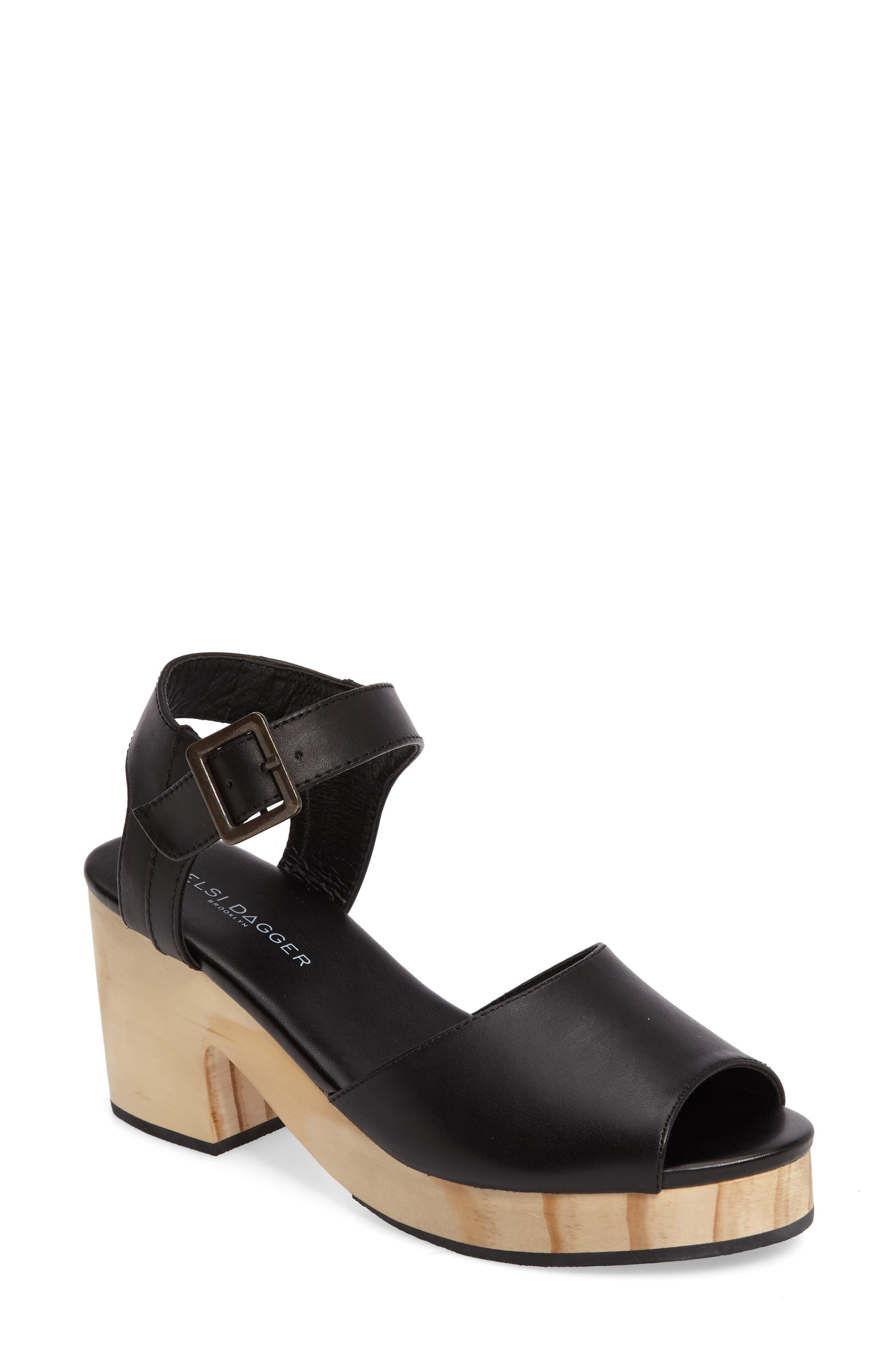 Montgomery Platform Sandal,                         Main,                         color, Black Leather