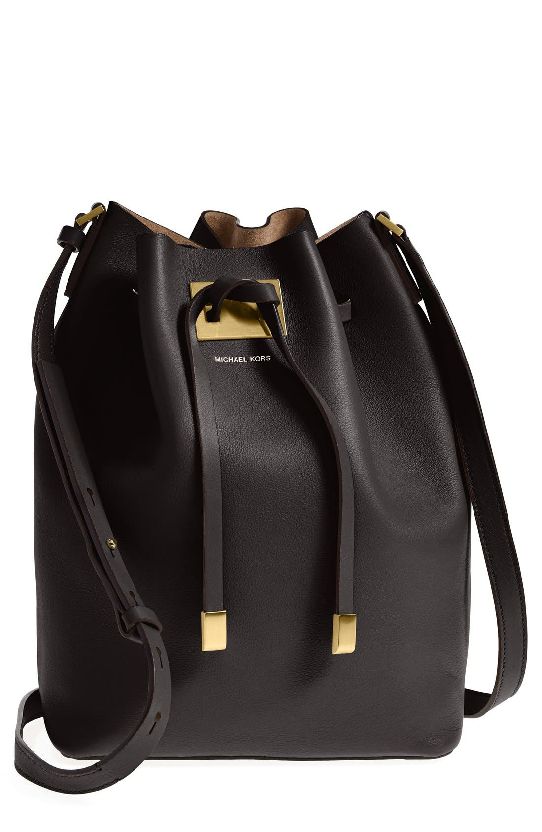 Alternate Image 1 Selected - Michael Kors 'Large Miranda' Leather Bucket Bag