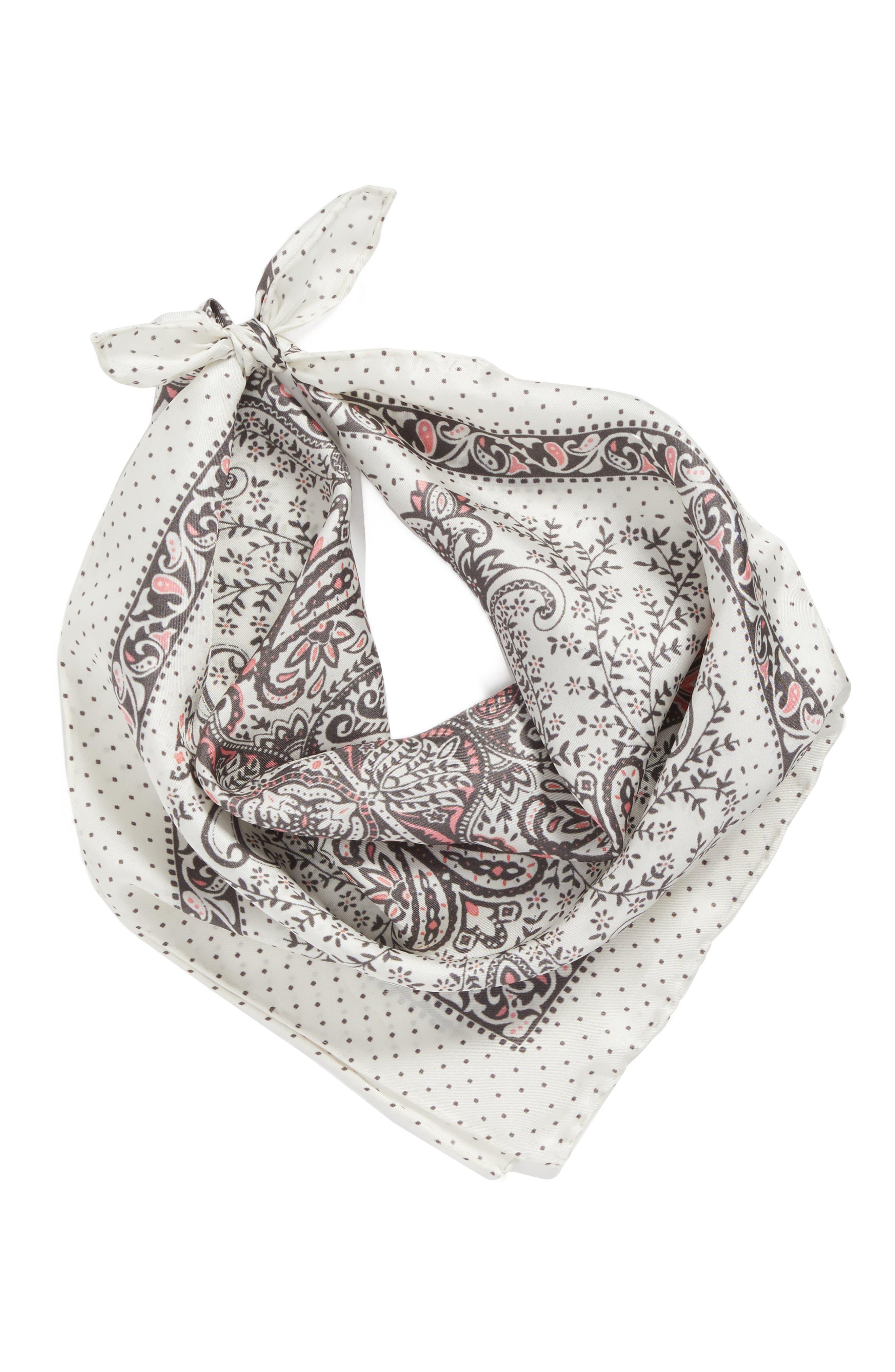 Handkerchief Paisley Silk Scarf,                             Alternate thumbnail 3, color,                             Pale Nude