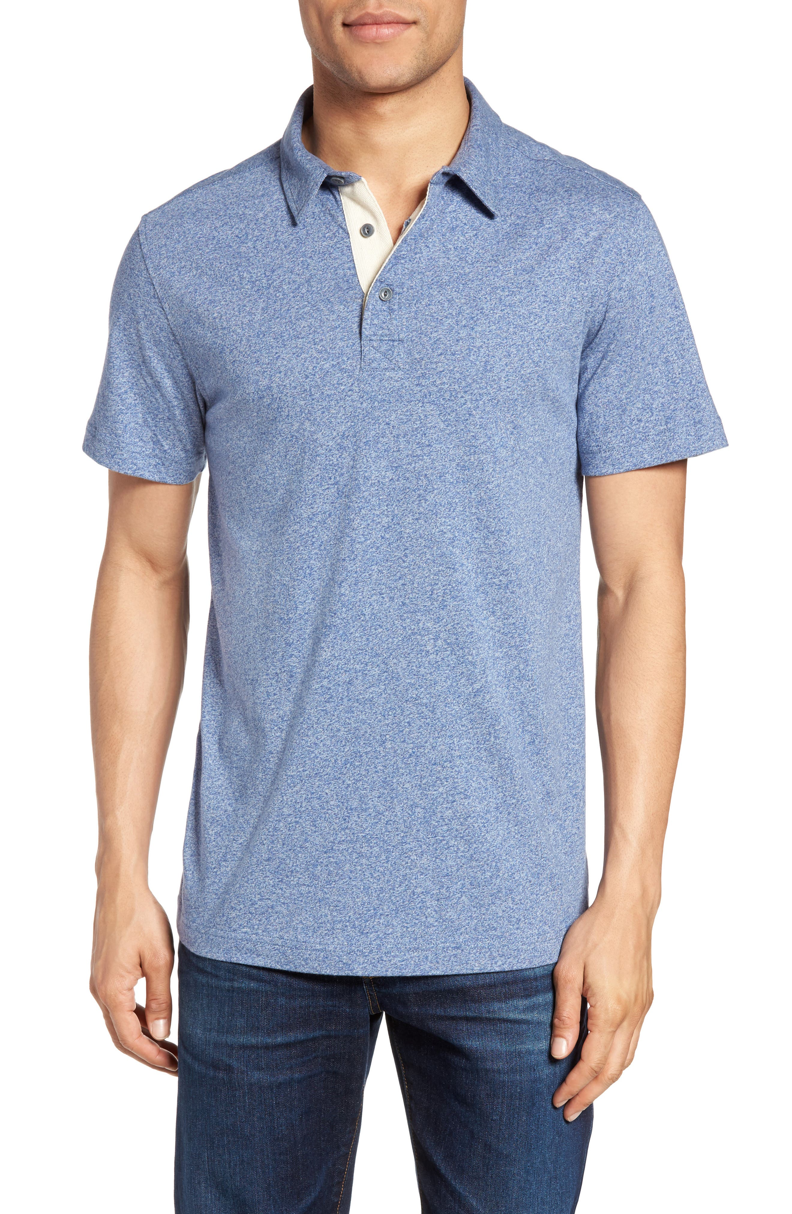 NORDSTROM MENS SHOP Trim Fit Jaspé Polo
