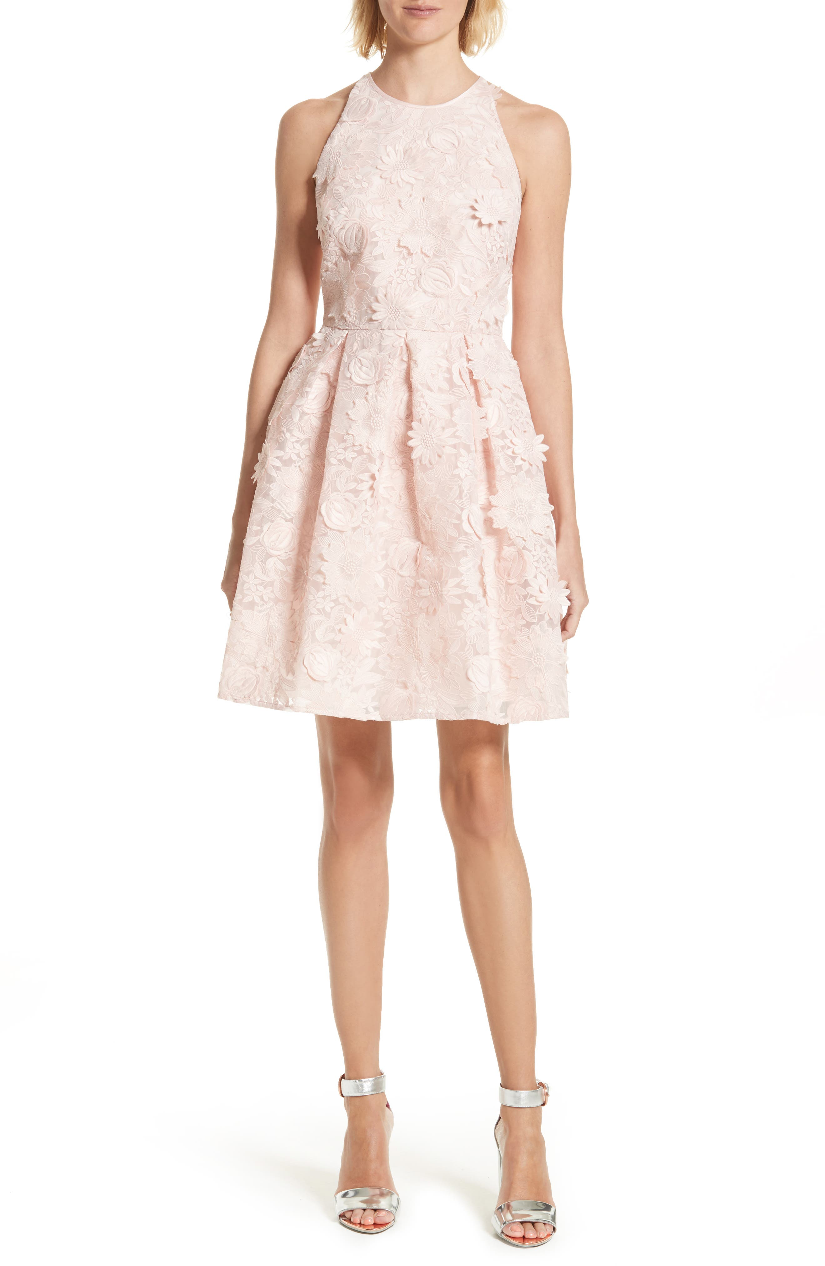 Sweetee Lace Skater Dress,                         Main,                         color, Baby Pink