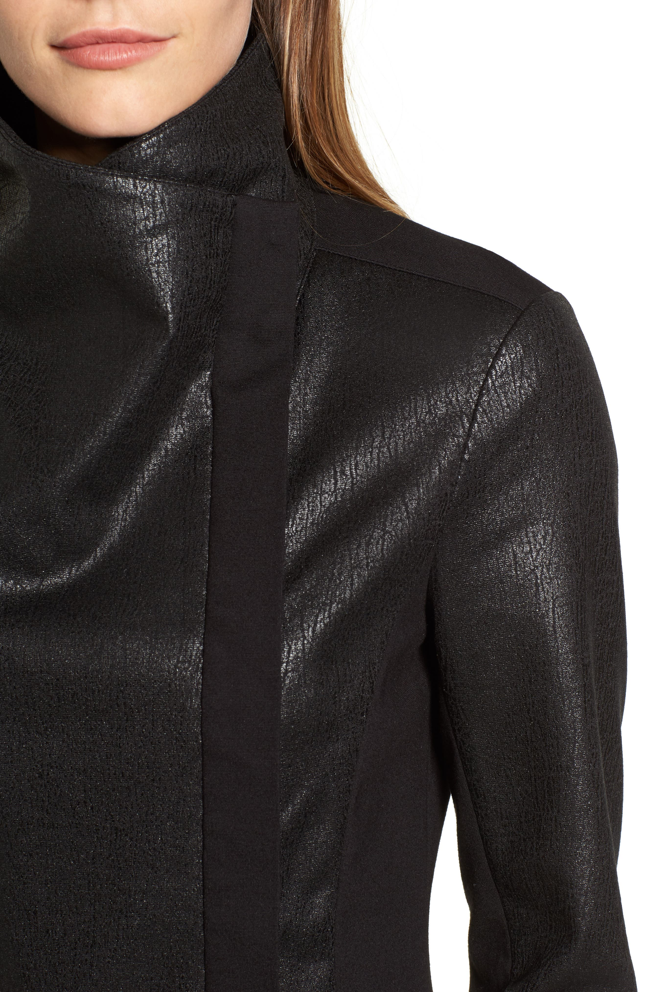 Alternate Image 4  - Two by Vince Camuto Coated Ponte Knit Moto Jacket