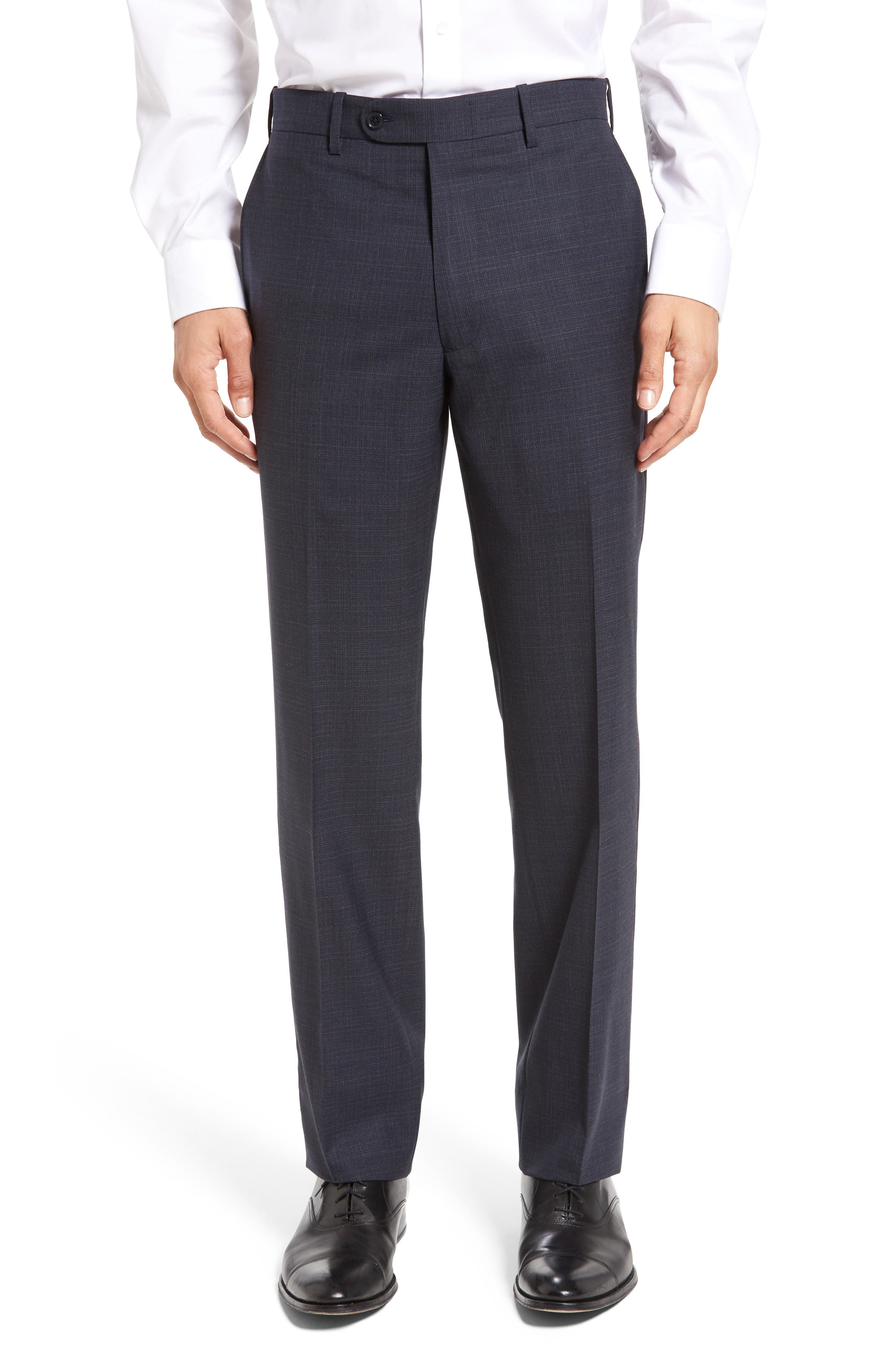 Alternate Image 1 Selected - JB Britches Flat Front Plaid Wool Trousers